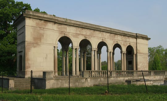 The endangered Thomas Taggart Memorial at Riverside Park is shown in disrepair, surrounded by a fence, on Tuesday, May 10, 2011. The structure was one of 10 on Indiana Landmarks' 2011 Most Endangered list of Indiana historic sites or buildings.