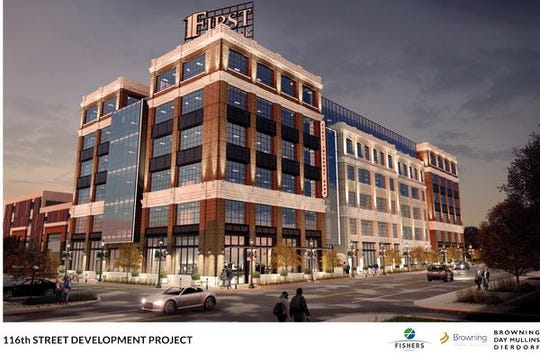 A proposed office building on 116th Street in Fishers.