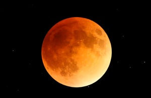A total lunar eclipse on Sept. 27, 2015, seen from Indianapolis, was taken by Butler University Professor Xianming Han.