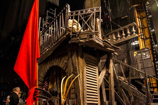 Set pieces are seen backstage at Les Misérables before its opening show on Tuesday, Dec. 4, 2018, at Hancher Auditorium on the University of Iowa campus in Iowa City.