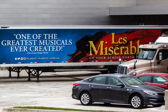 A Les Misérables tour trailer is seen in the loading dock before the opening show on Tuesday, Dec. 4, 2018, at Hancher Auditorium on the University of Iowa campus in Iowa City.