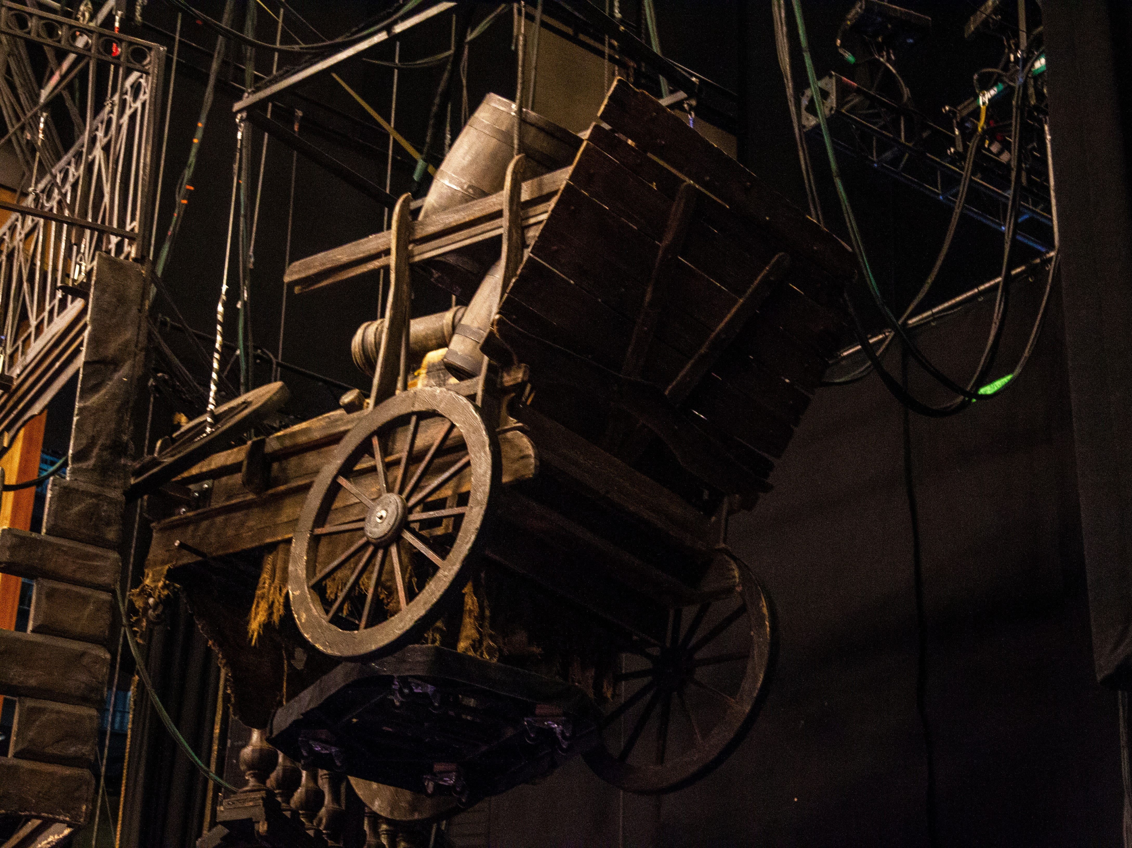 A set piece hangs backstage at Les Misérables as set up continues before its opening show on Tuesday, Dec. 4, 2018, at Hancher Auditorium on the University of Iowa campus in Iowa City.