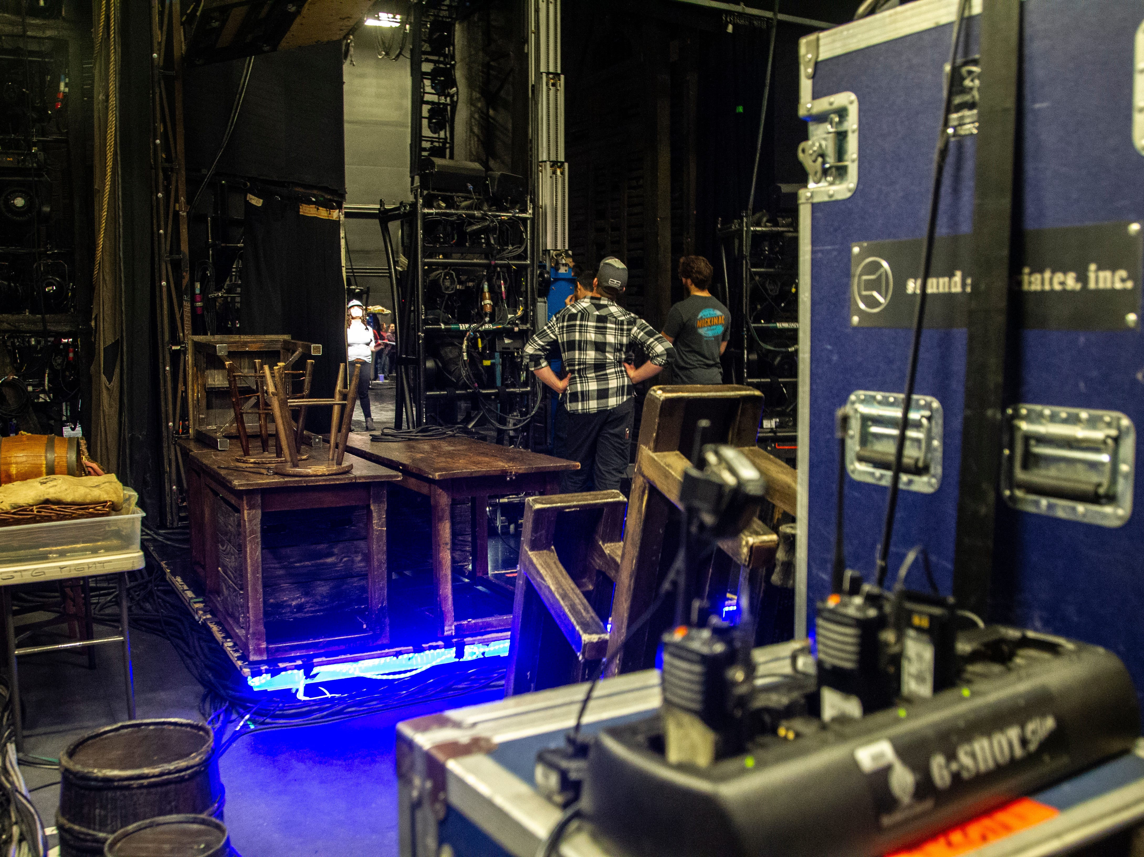 Members of the Les Misérables crew set up before its opening show on Tuesday, Dec. 4, 2018, at Hancher Auditorium on the University of Iowa campus in Iowa City.