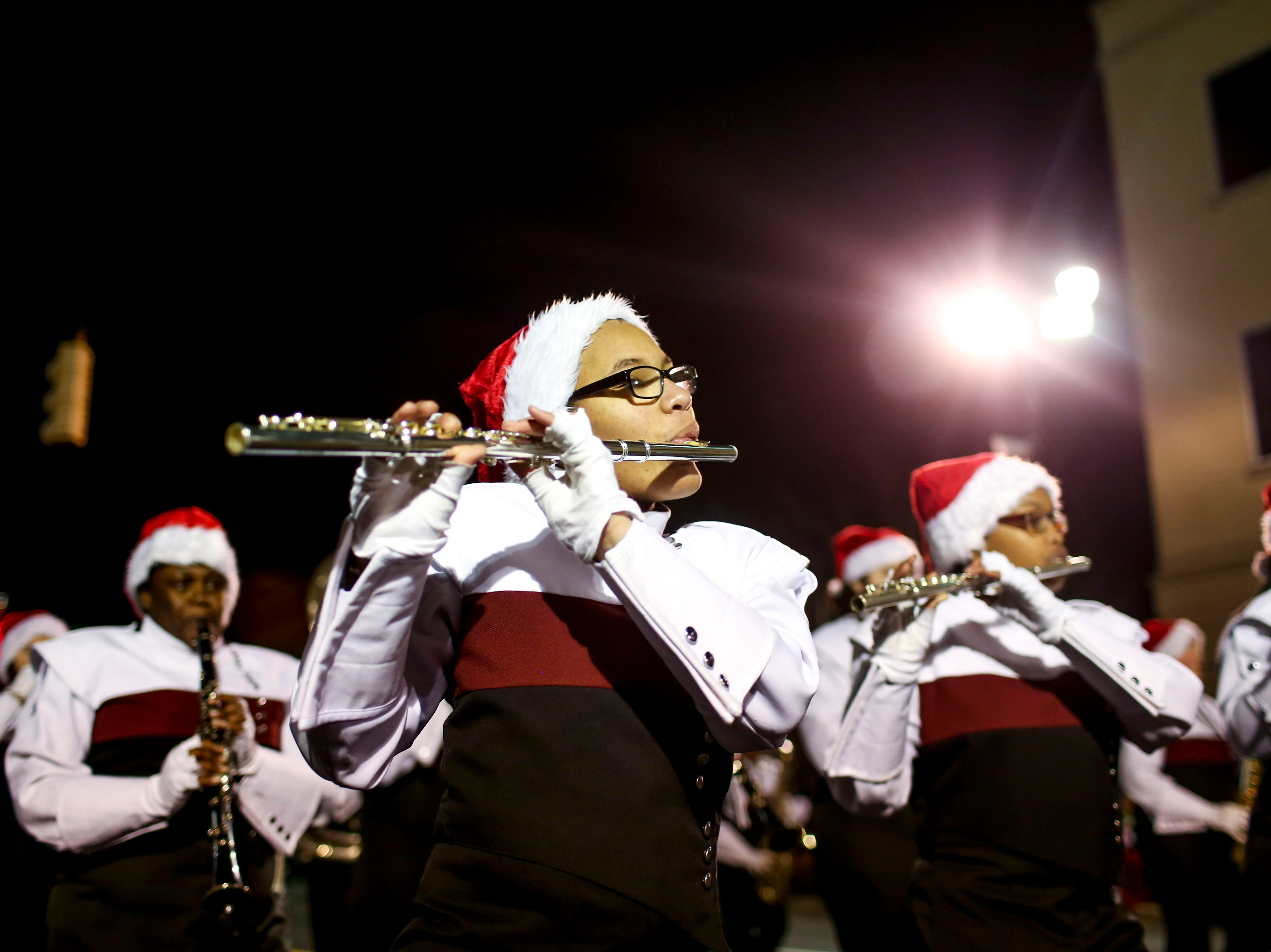 Hundreds lined up flanking Main Street to watch the annual Christmas Parade that brought local high school bands, dance groups, and many others to downtown in Jackson, Tenn., on Monday, Dec. 3, 2018.