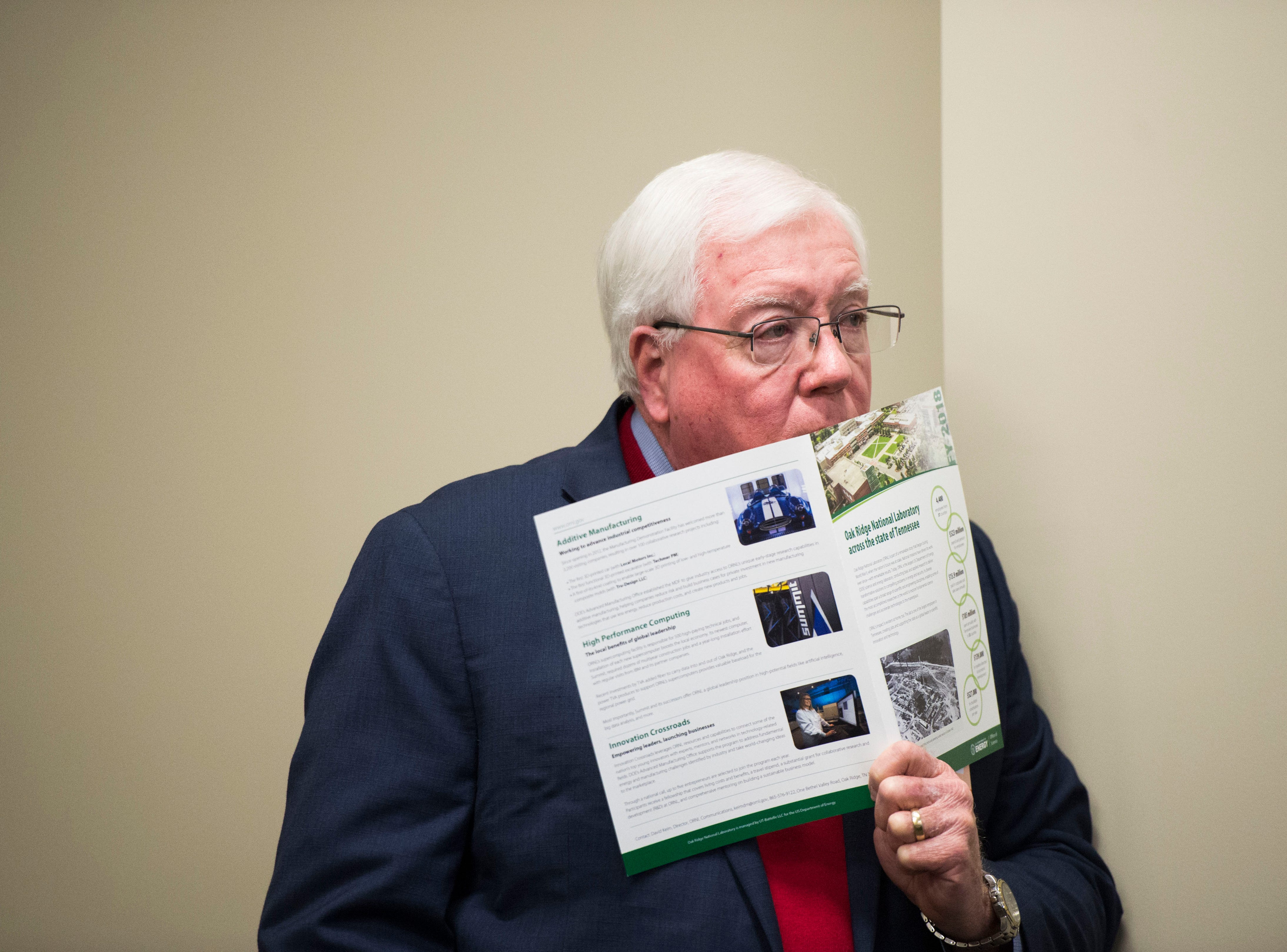 Knox County commissioner Charles Busler listens during a talk at Oak Ridge National Laboratory's Manufacturing Demonstration Facility in Knoxville Tuesday, Dec. 4, 2018. The group of Knox County Commissioners and Knoxville Chamber officials got a sense of what is available for the region in terms of advanced manufacturing, and potential workforce initiatives.