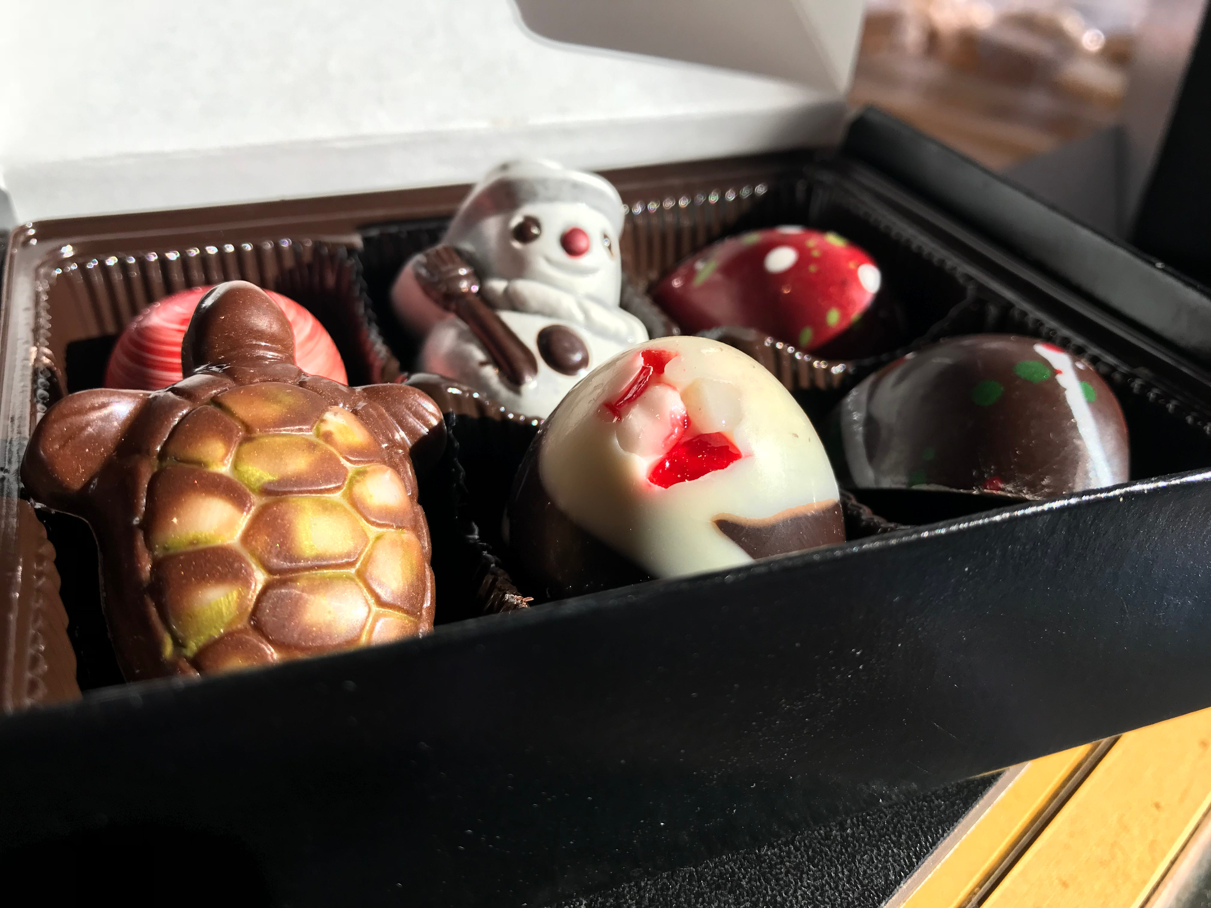 Truffles from Coffee & Chocolate on Union Avenue come in some holiday themes.