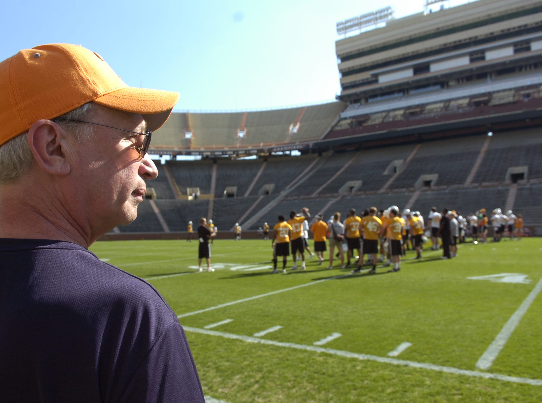 KNS sportswriter John Adams prepares for his celebrity coaching responsibilities during practice at Neyland Stadium on April 15, 2010.