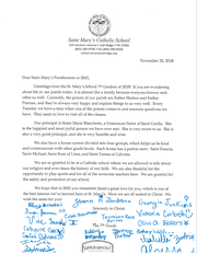 The seventh-grade class of St. Mary's signed a letter for future classes. The letter will be buried for 25 years and read again in 2043.
