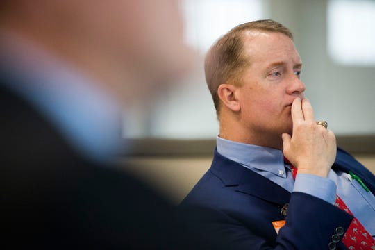 Knox County commissioner Hugh Nystrom listens during a talk at Oak Ridge National Laboratory's Manufacturing Demonstration Facility in Knoxville Tuesday, Dec. 4, 2018. The group of Knox County Commissioners and Knoxville Chamber officials got a sense of what is available for the region in terms of advanced manufacturing, and potential workforce initiatives.