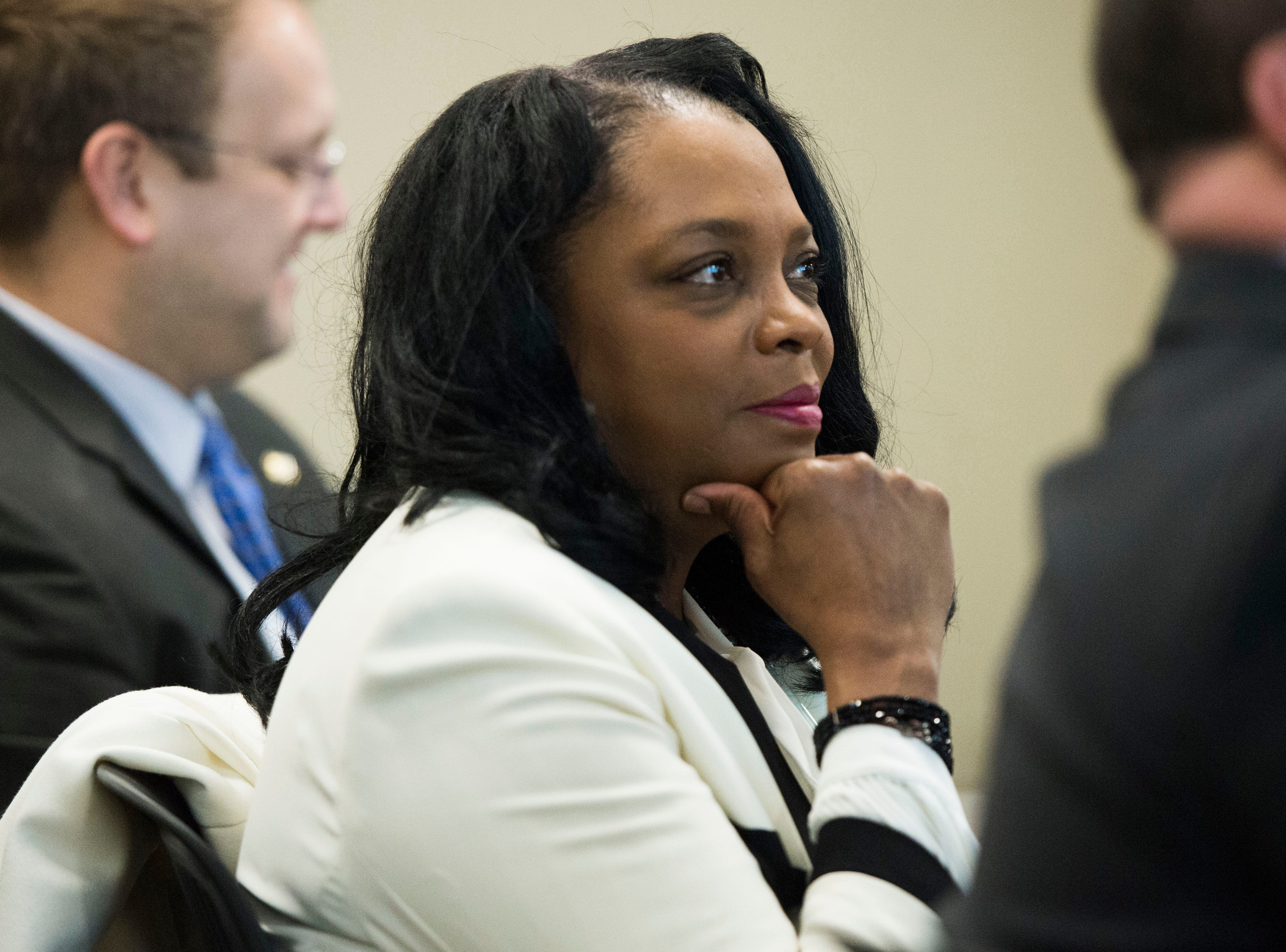 Knox County commissioner Evelyn Gill listens during a talk at Oak Ridge National Laboratory's Manufacturing Demonstration Facility in Knoxville Tuesday, Dec. 4, 2018. The group of Knox County Commissioners and Knoxville Chamber officials got a sense of what is available for the region in terms of advanced manufacturing, and potential workforce initiatives.