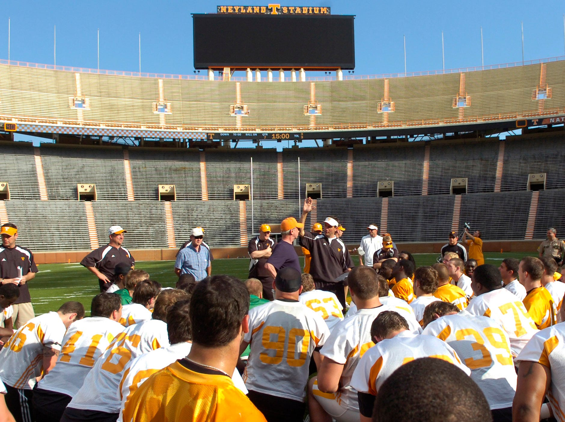 UT head coach Derek Dooley introduces KNS sportswriter John Adams to the team during practice at Neyland Stadium on April 15, 2010.