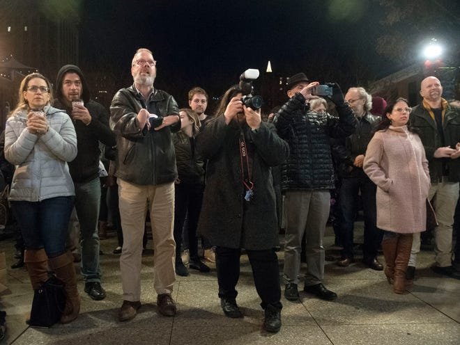 A crowd of 250 people gather at Market Square on Monday, December 3, 2018 to attend Knoxville's first Chanukah in the City event.