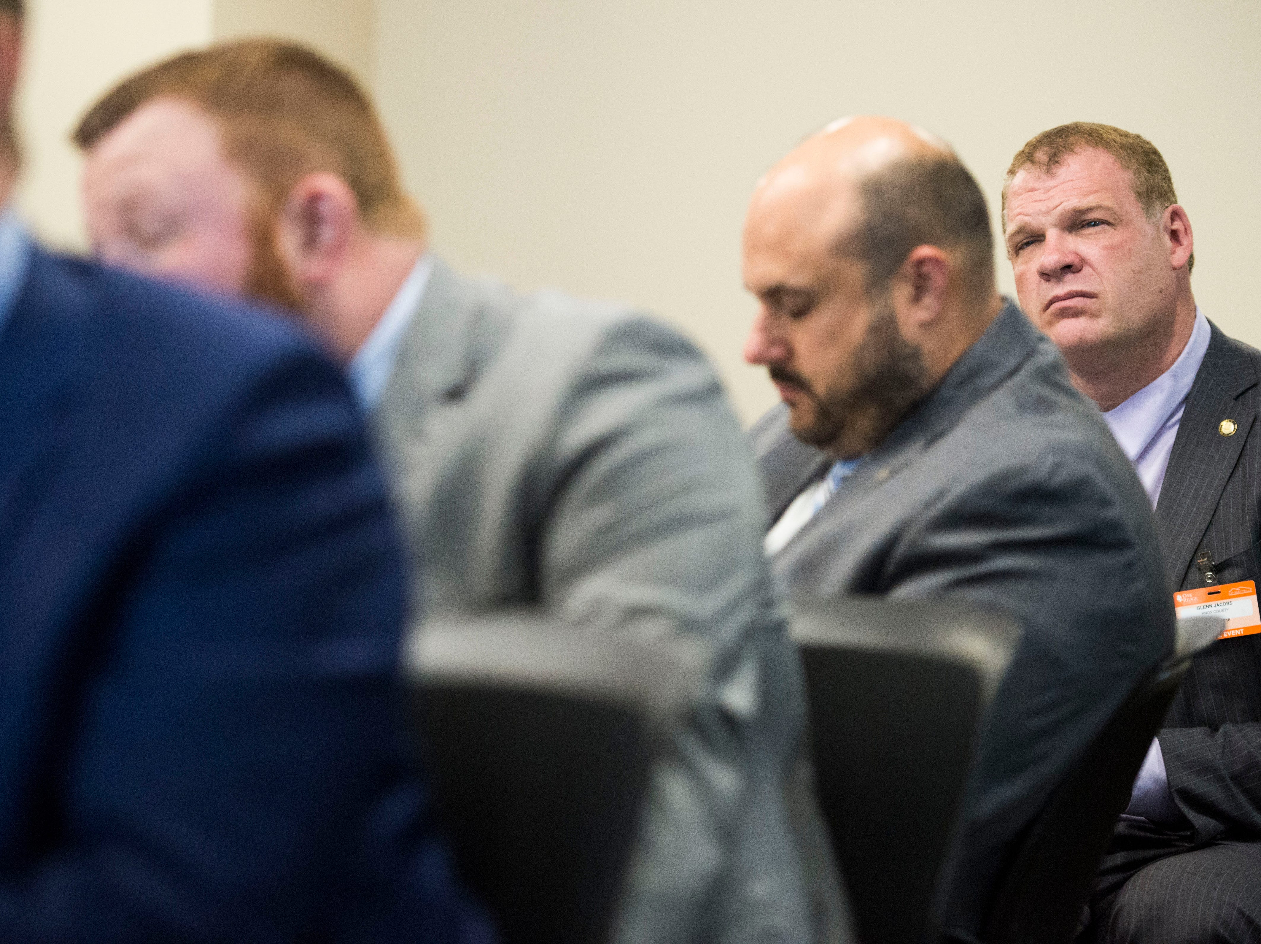 Knox County Mayor Glenn Jacobs listens during a talk at Oak Ridge National Laboratory's Manufacturing Demonstration Facility in Knoxville Tuesday, Dec. 4, 2018. The group of Knox County Commissioners and Knoxville Chamber officials got a sense of what is available for the region in terms of advanced manufacturing, and potential workforce initiatives.