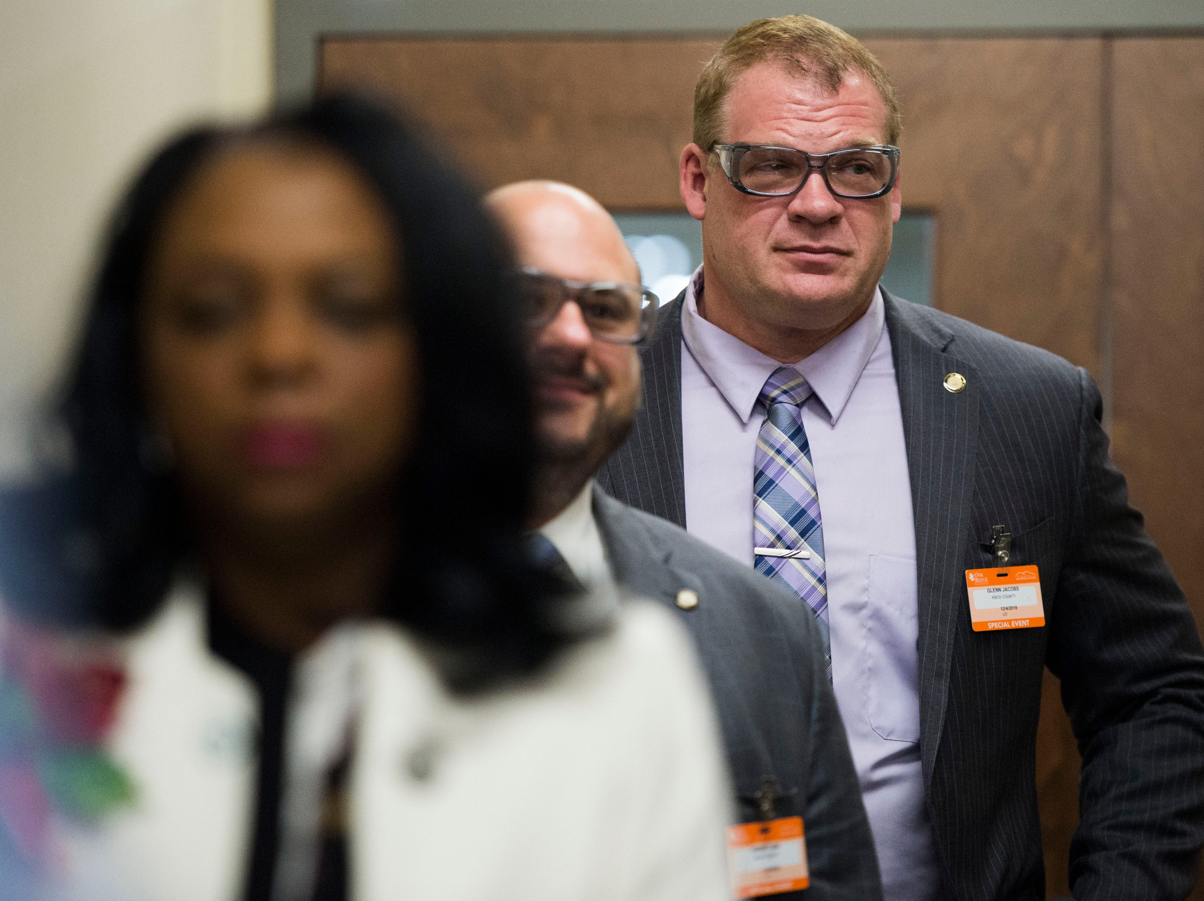 Knox County Mayor Glenn Jacobs wears safety glasses at Oak Ridge National Laboratory's Manufacturing Demonstration Facility in Knoxville Tuesday, Dec. 4, 2018. The group of Knox County Commissioners and Knoxville Chamber officials got a sense of what is available for the region in terms of advanced manufacturing, and potential workforce initiatives.