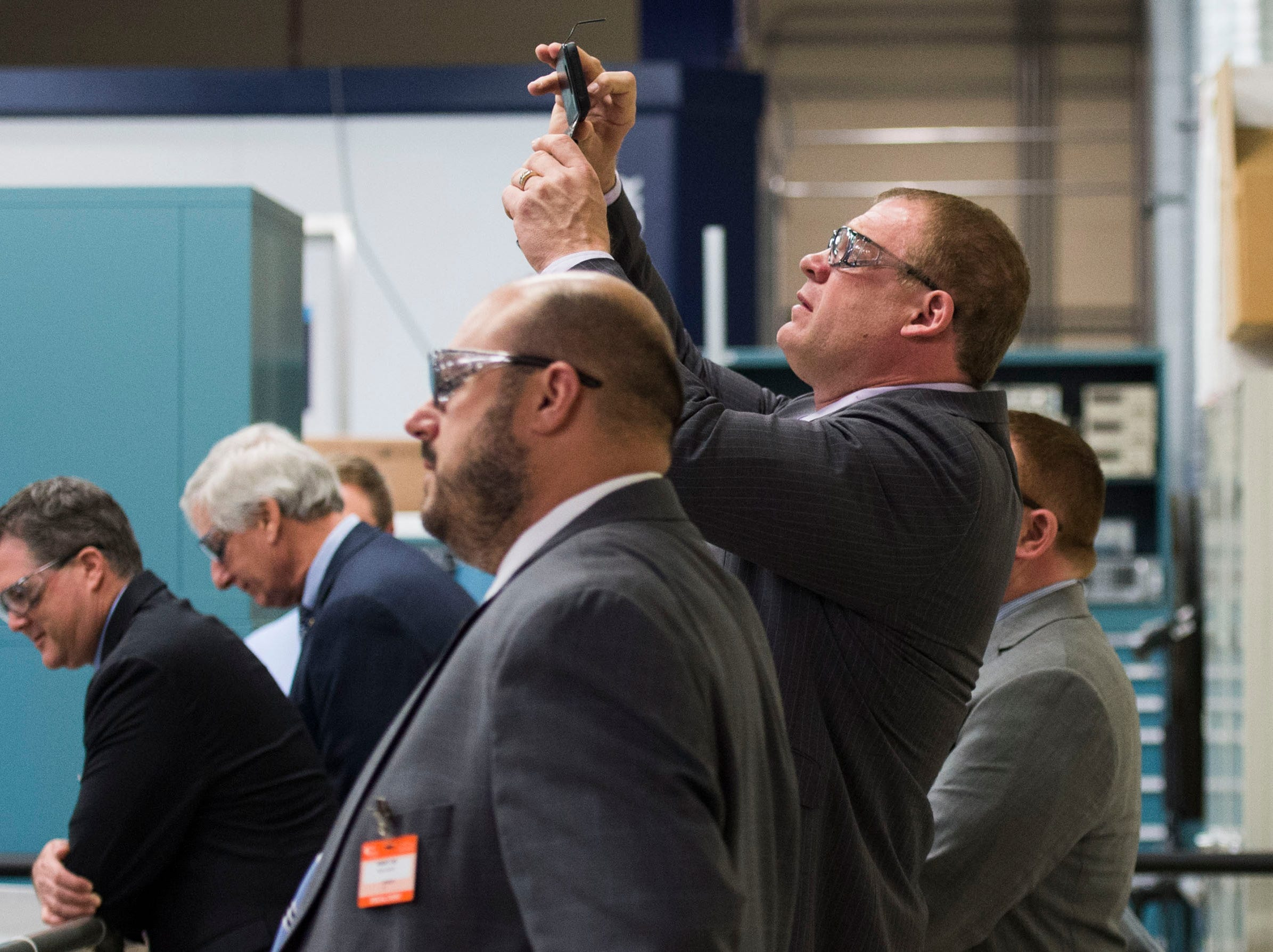 Knox County Mayor Glenn Jacobs takes a photo during a tour at Oak Ridge National Laboratory's Manufacturing Demonstration Facility in Knoxville Tuesday, Dec. 4, 2018.