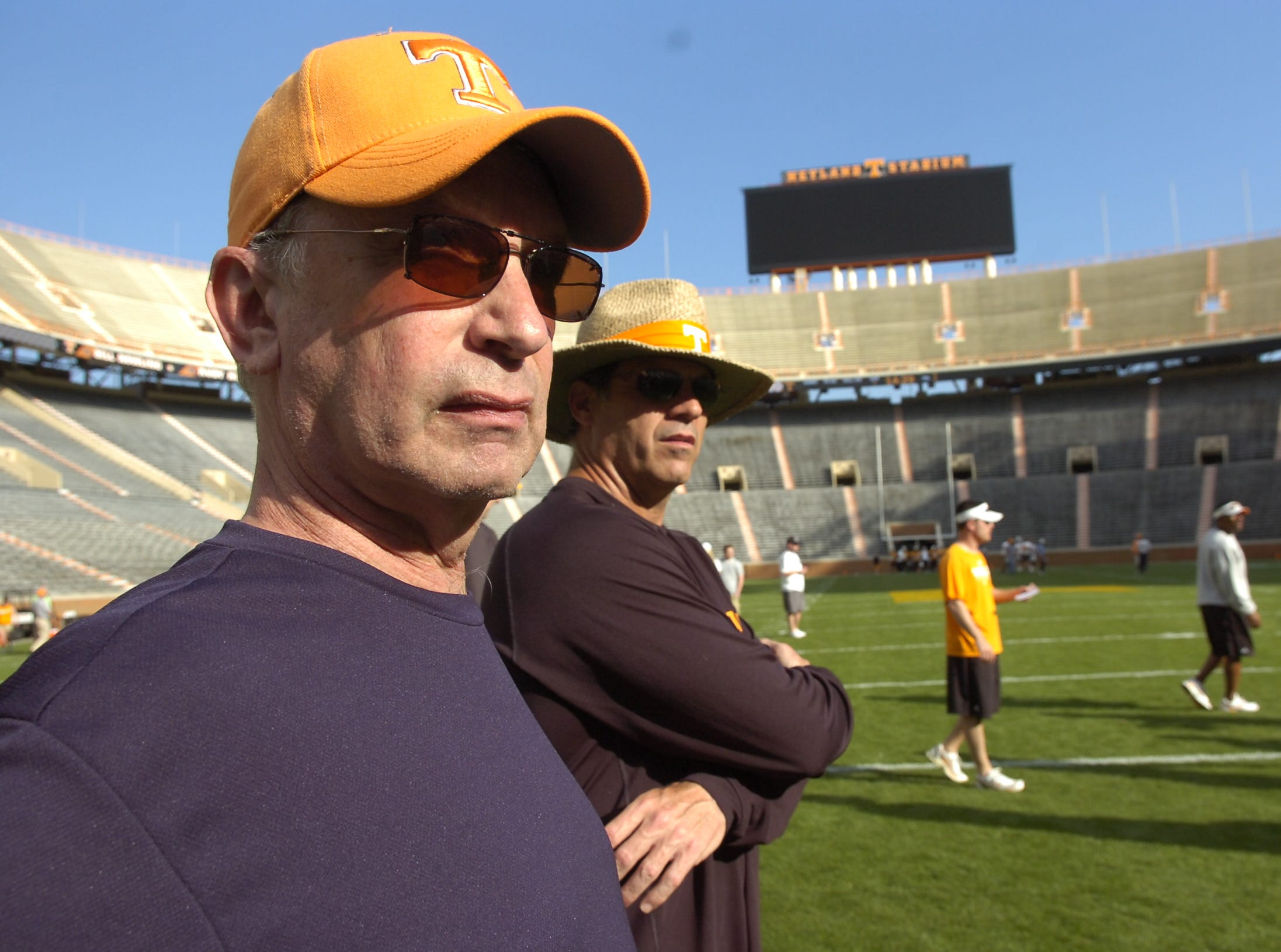 KNS sportswriter John Adams prepares for his celebrity coaching, with Lance Thompson during practice at Neyland Stadium on April 15, 2010.