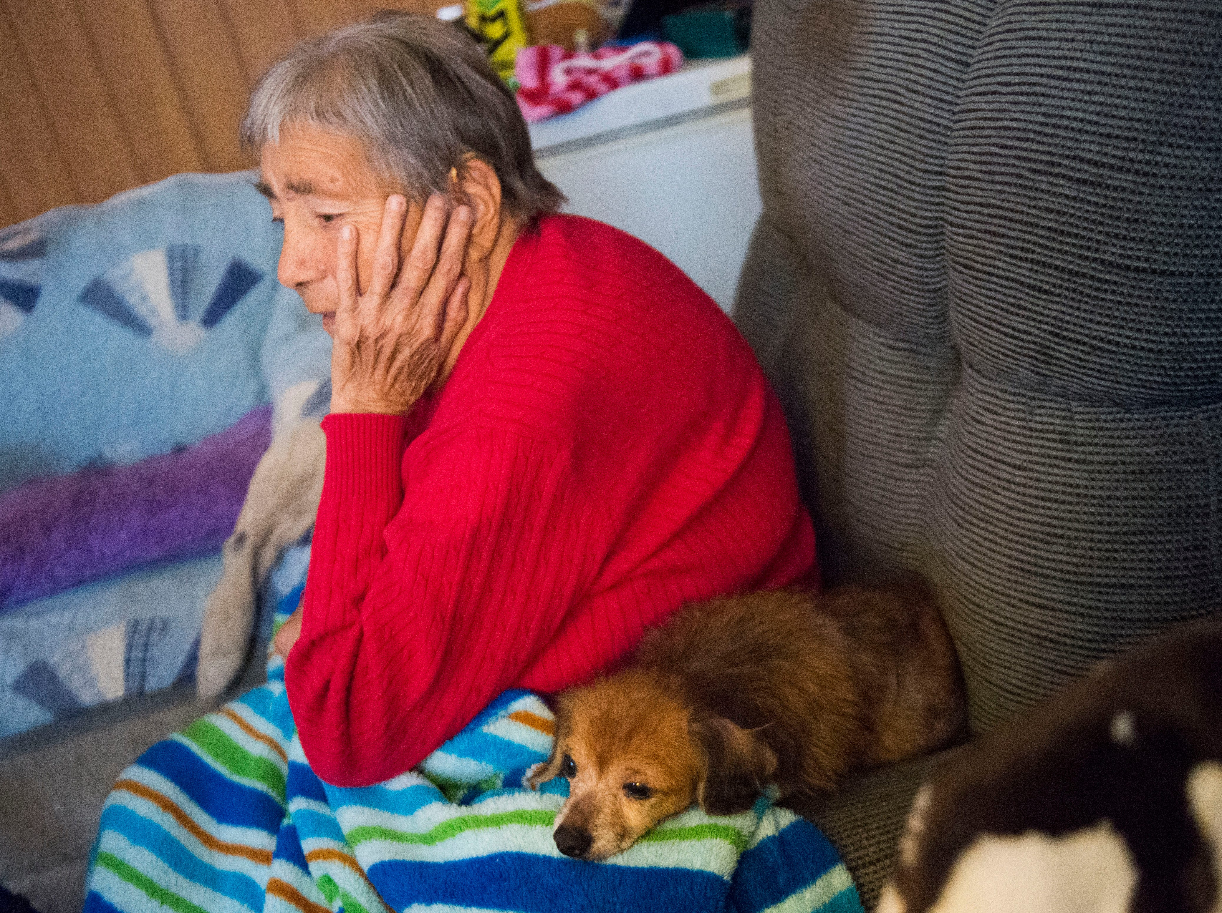 Mary Zick, 81, sits next to her dog Princess in her Knoxville home Tuesday, Dec. 4, 2018. Zick receives dialysis 3 times per week, and the Milk Fund has provided her with Ensure the past 4 to 5 months.