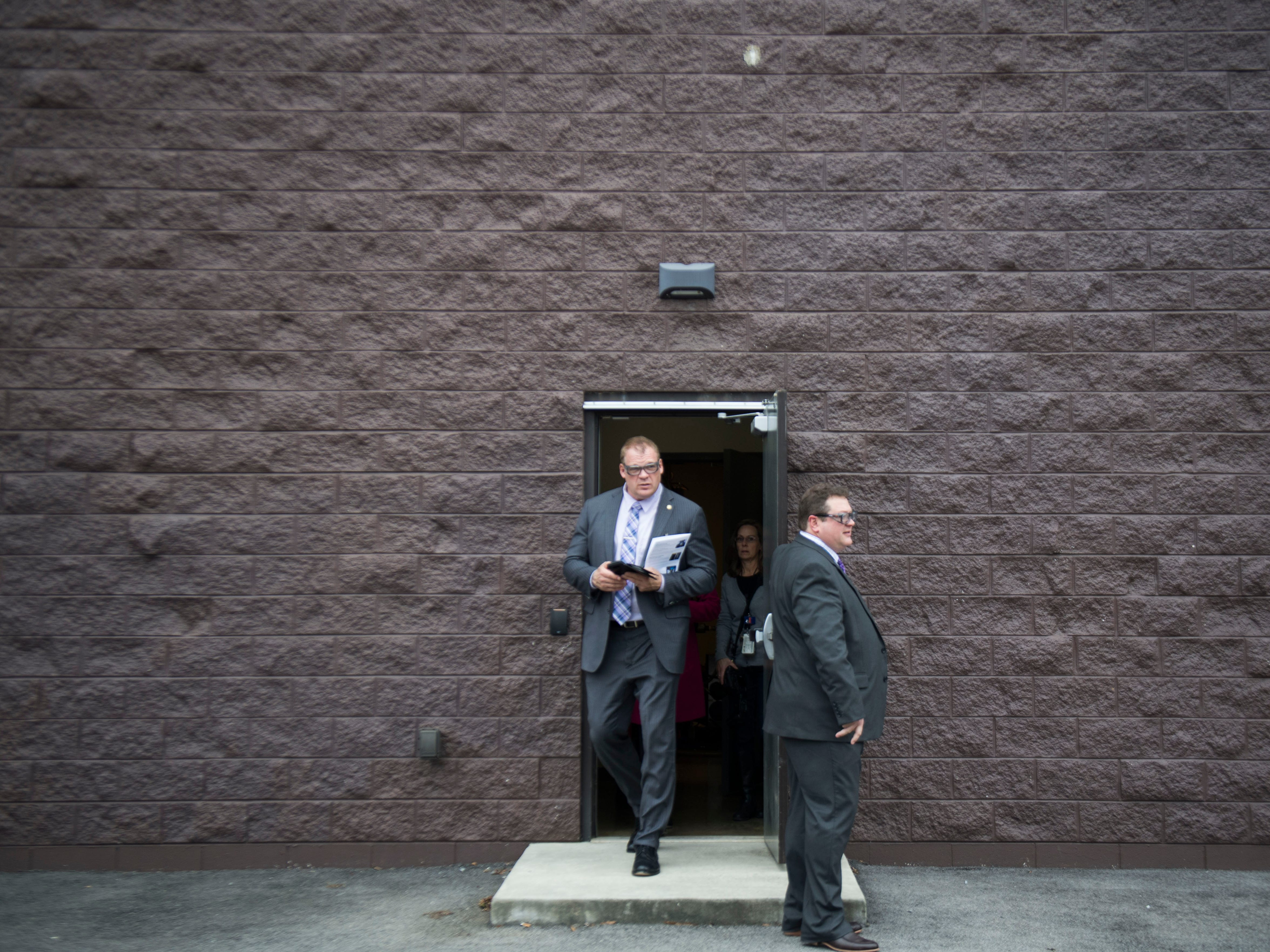 The Knox County Mayor Glenn Jacobs walks out of a building during a tour of Oak Ridge National Laboratory's Manufacturing Demonstration Facility in Knoxville Tuesday, Dec. 4, 2018.