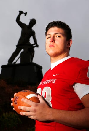 George Karlaftis of West Lafayette is the 2018 Journal & Courier Big School Defensive Player of the Year.