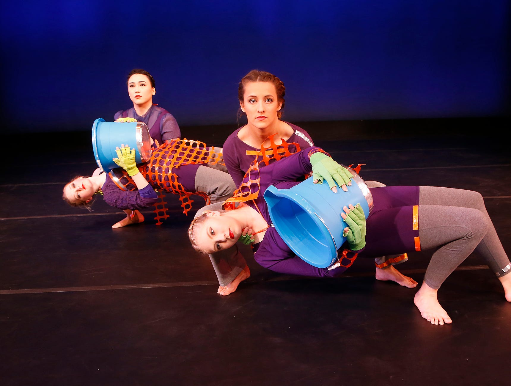 "A dance choreographed by Holly Jaycox titled ""Warriors for the Ordinary"" that is part of Purdue Contemporary Dance Company's Winter Works Concert. ""Warriors of the Ordinary"" features dancers Madison Hinton, Chloe Mills, Frankie Tao and Lane Terry. Performances are Friday, December 7 at 7:30 p.m., and Saturday, December 8 at 2 p.m. and 7:30 p.m. in Nancy Hansen Theatre in Pao Hall on the campus of Purdue University."