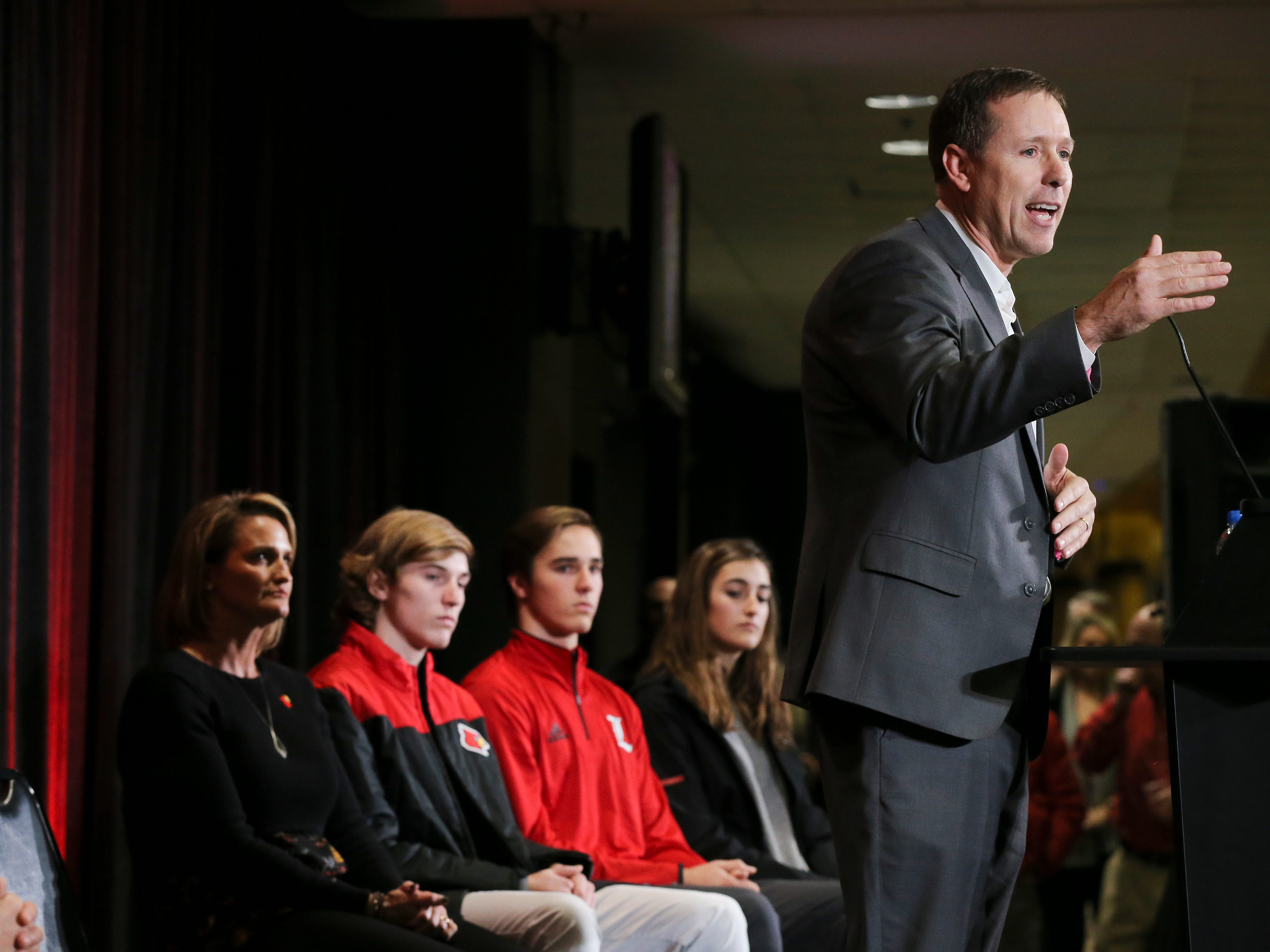 New U of L head football coach Scott Satterfield makes remarks as his family looks on during the announement at Cardinal Stadium.  Dec. 4, 2018