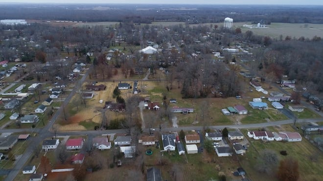 An aerial image over the north side of Austin, Indiana. The low-income area has been the hardest hit by the tolls of addiction. Nov. 29, 2018
