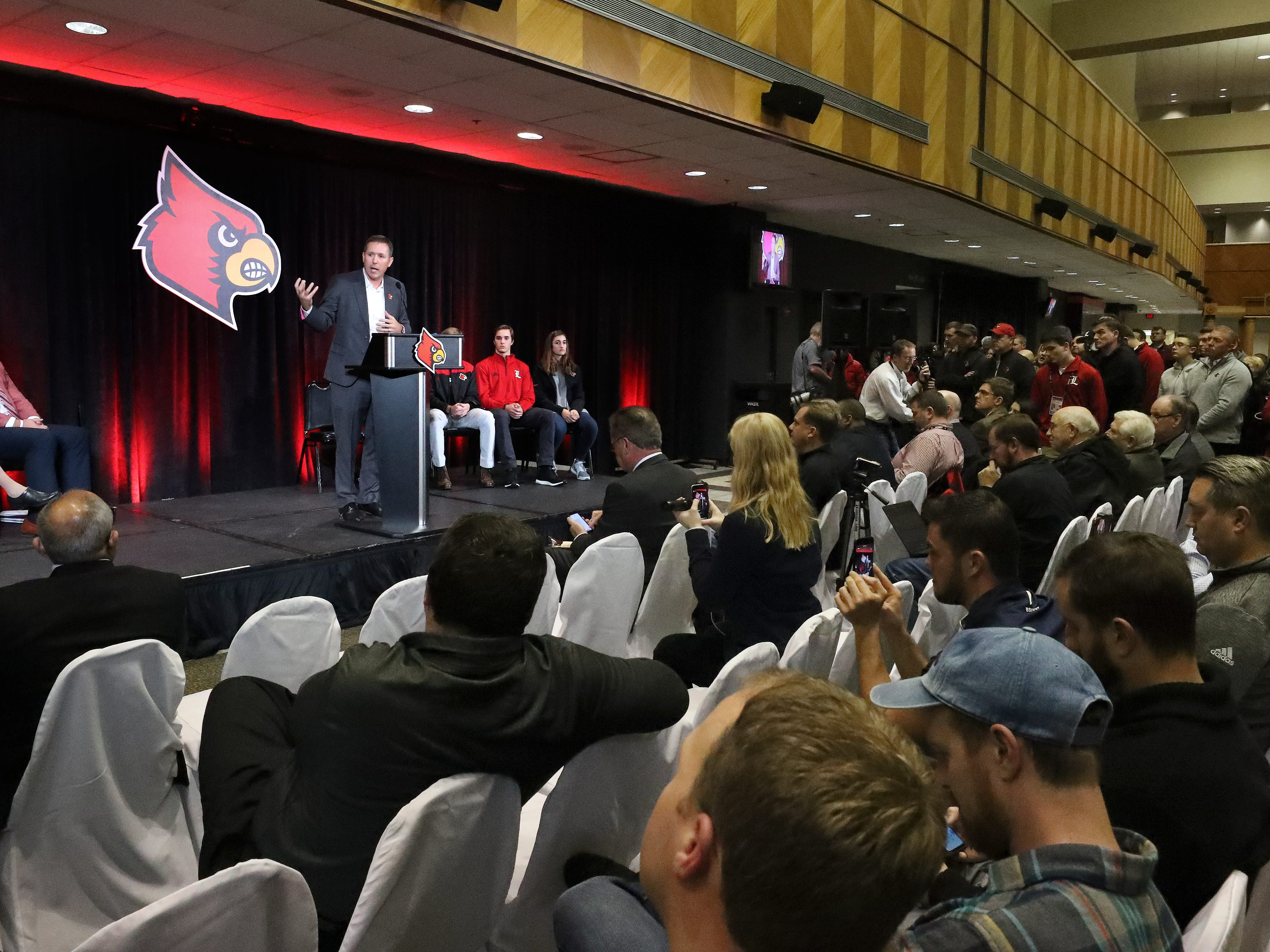 New U of L head football coach Scott Satterfield makes remarks during the announement at Cardinal Stadium.  Dec. 4, 2018