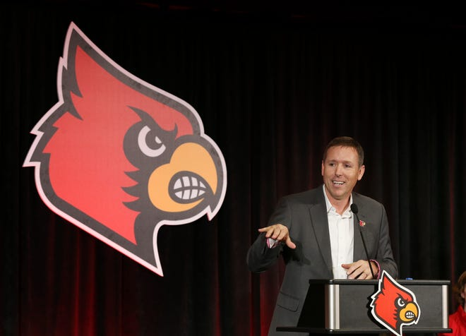 New U of L head football coach Scott Satterfield makes remarks during the announement at Cardinal Stadium.  