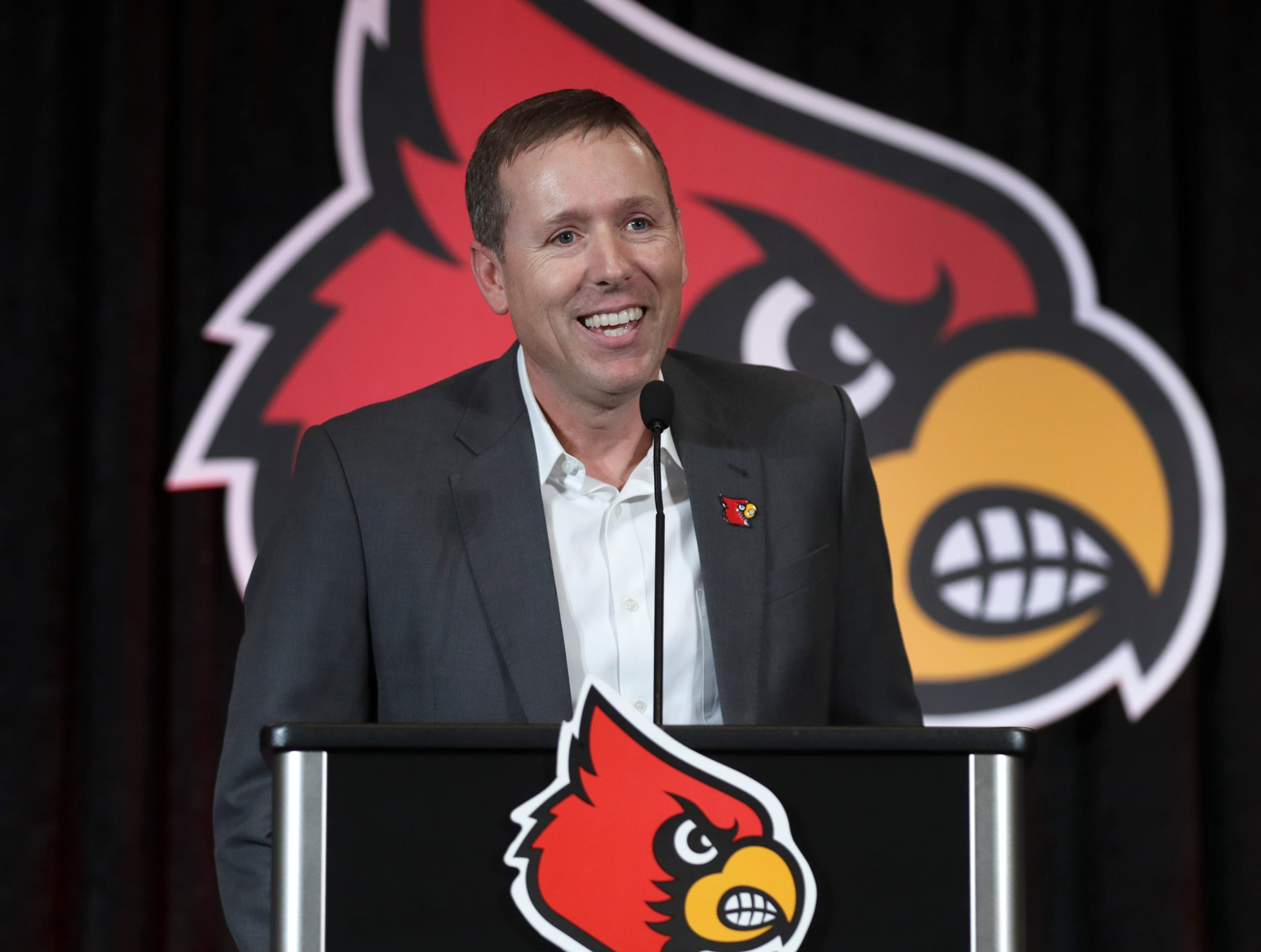 Coach Scott Satterfield speaks after being named coach at Louisville on Tuesday evening.