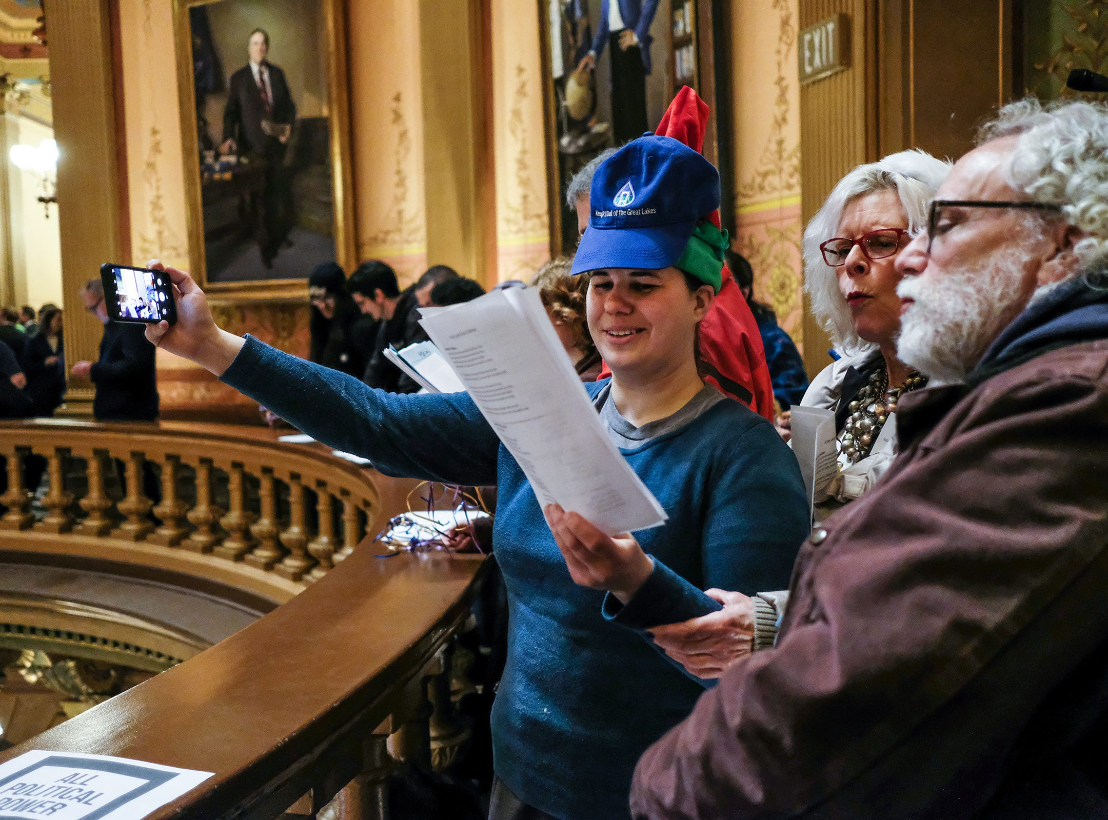 "People sing a parody of ""12 Days of Christmas"" related to the lame duck session at the state Capitol Tuesday, Dec. 4, 2018."