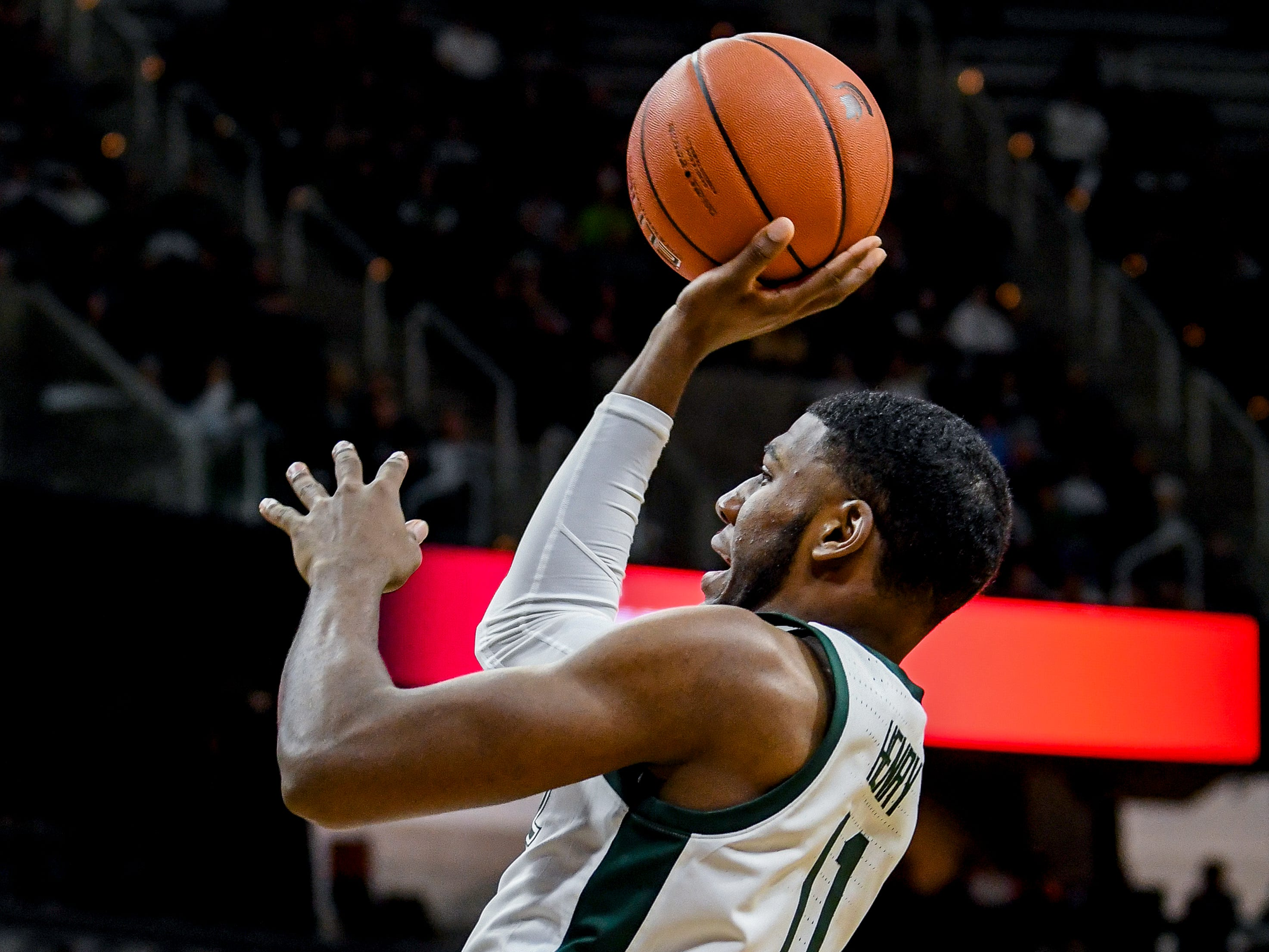 Michigan State's Aaron Henry makes a basket and draws an Iowa foul during the second half on Monday, Dec. 3, 2018, at the Breslin Center in East Lansing. Michigan State beat Iowa 90-68.