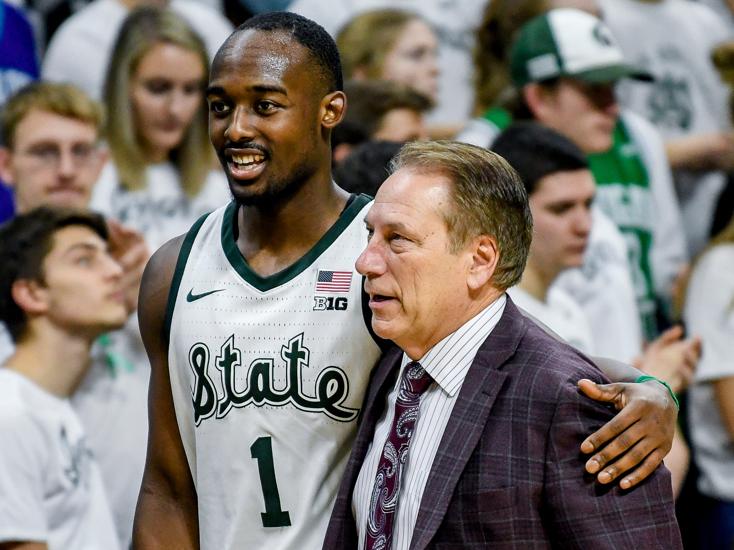 Michigan State's Joshua Langford, left, hugs head coach Tom Izzo after coming off the court during the second half on Monday, Dec. 3, 2018, at the Breslin Center in East Lansing. Michigan State beat Iowa 90-68.