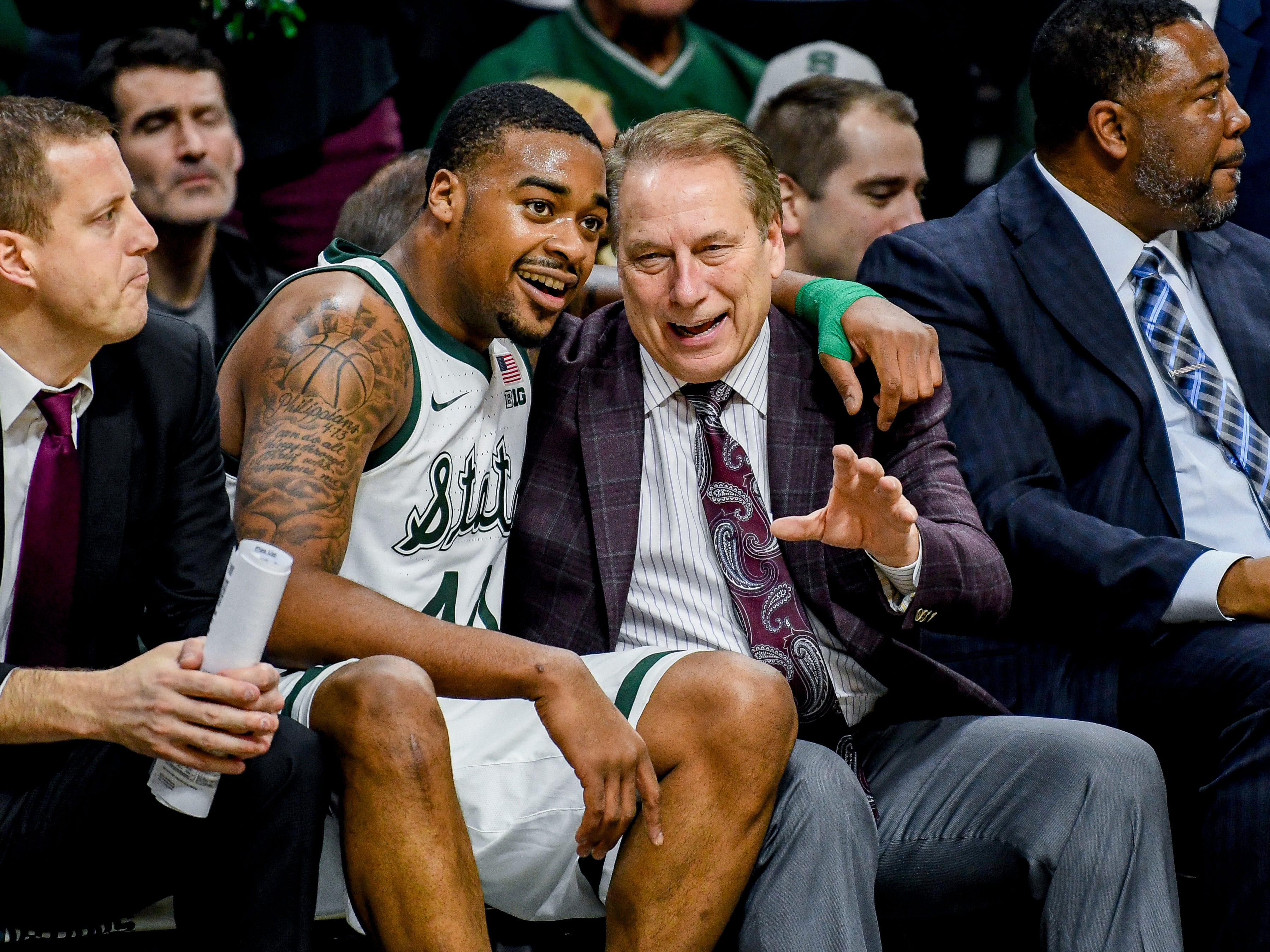 Michigan State's head coach Tom Izzo, right, talks with Nick Ward on the bench during the second half on Monday, Dec. 3, 2018, at the Breslin Center in East Lansing. Michigan State beat Iowa 90-68.