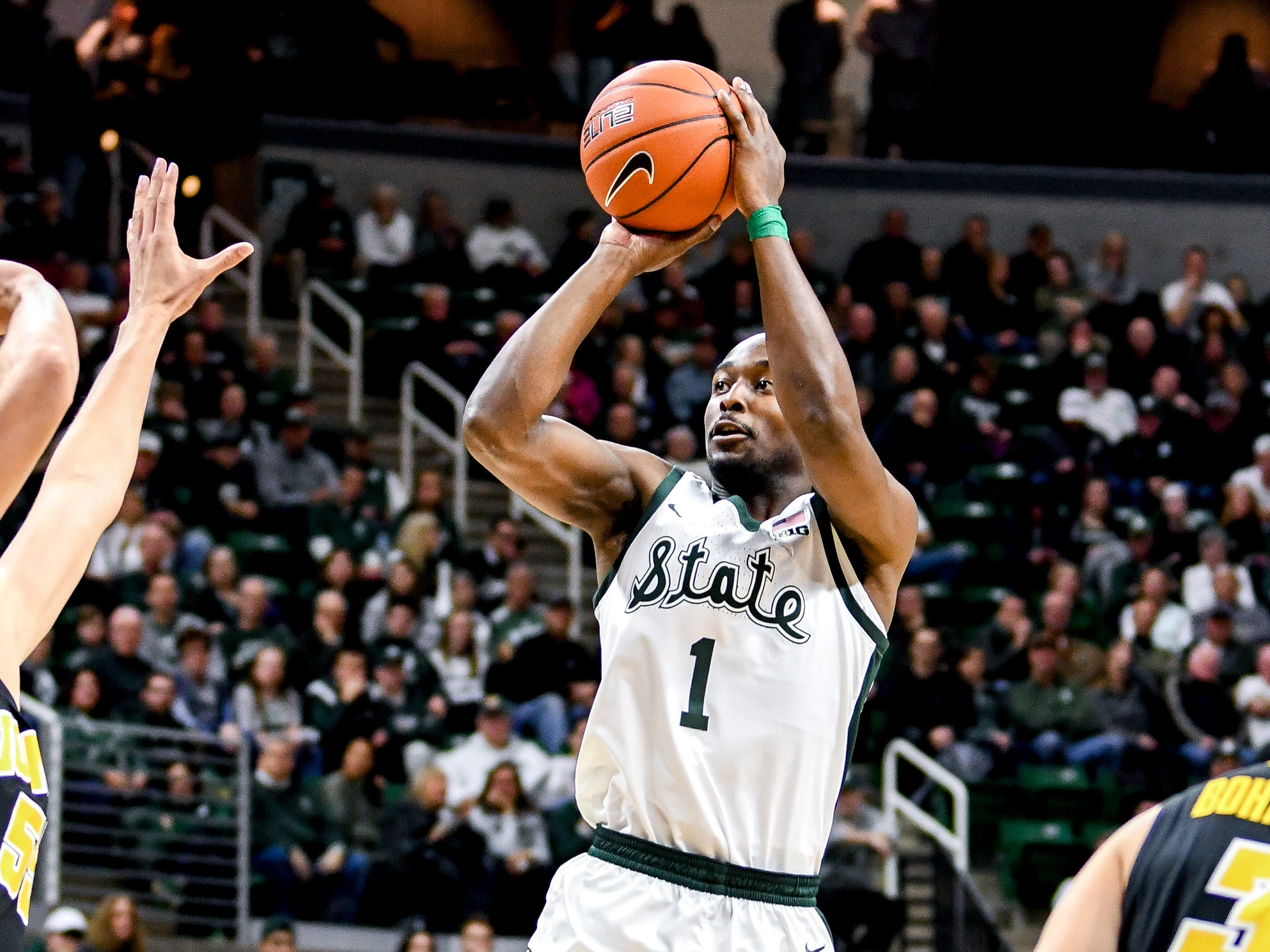 Michigan State's Joshua Langford shoots during the first half on Monday, Dec. 3, 2018, at the Breslin Center in East Lansing.