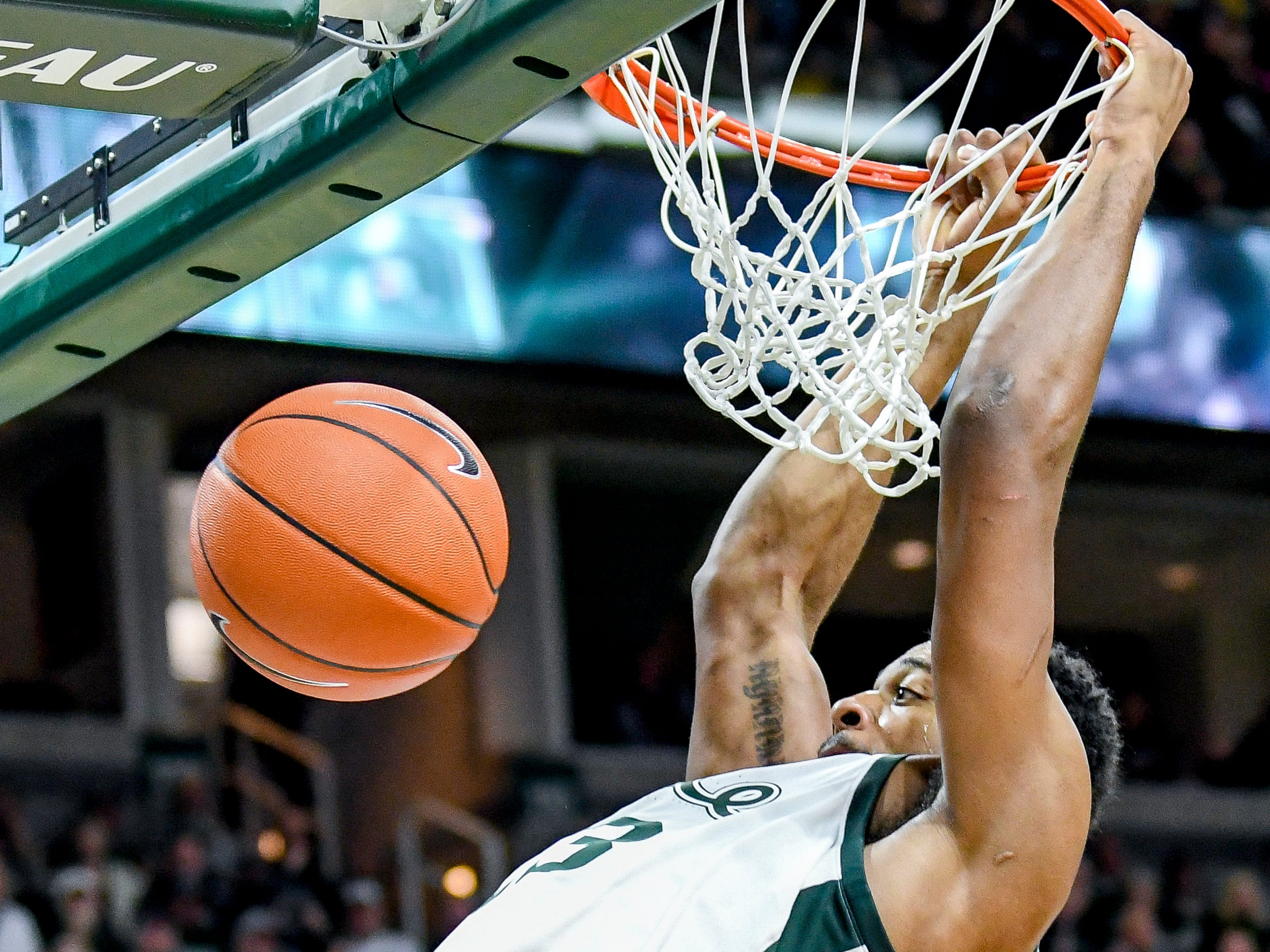 Michigan State's Xavier Tillman dunks during the second half on Monday, Dec. 3, 2018, at the Breslin Center in East Lansing. Michigan State beat Iowa 90-68.