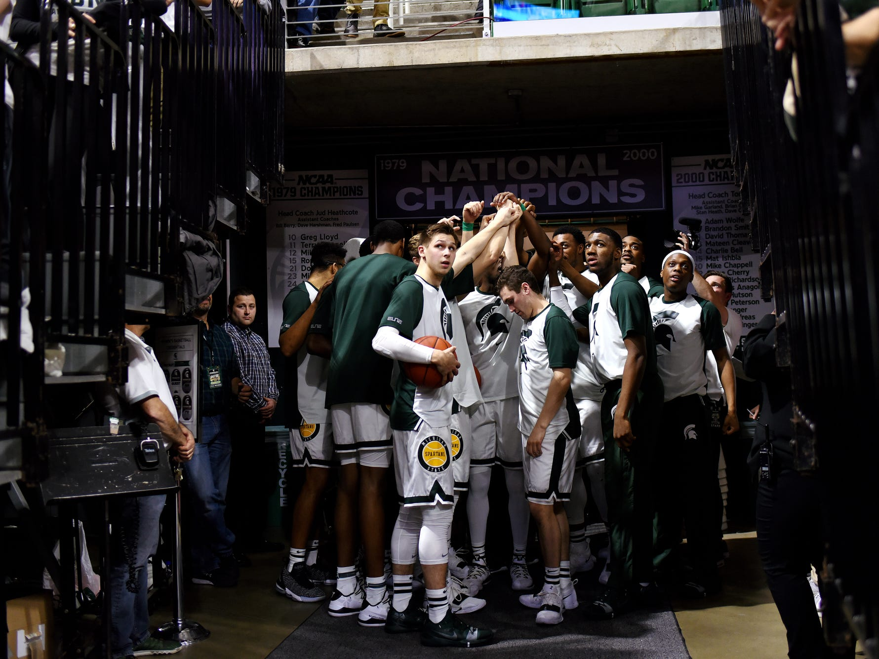 The Michigan State Spartans prepare to take on Iowa before the game on Monday, Dec. 3, 2018, at the Breslin Center in East Lansing. Michigan State beat Iowa 90-68.