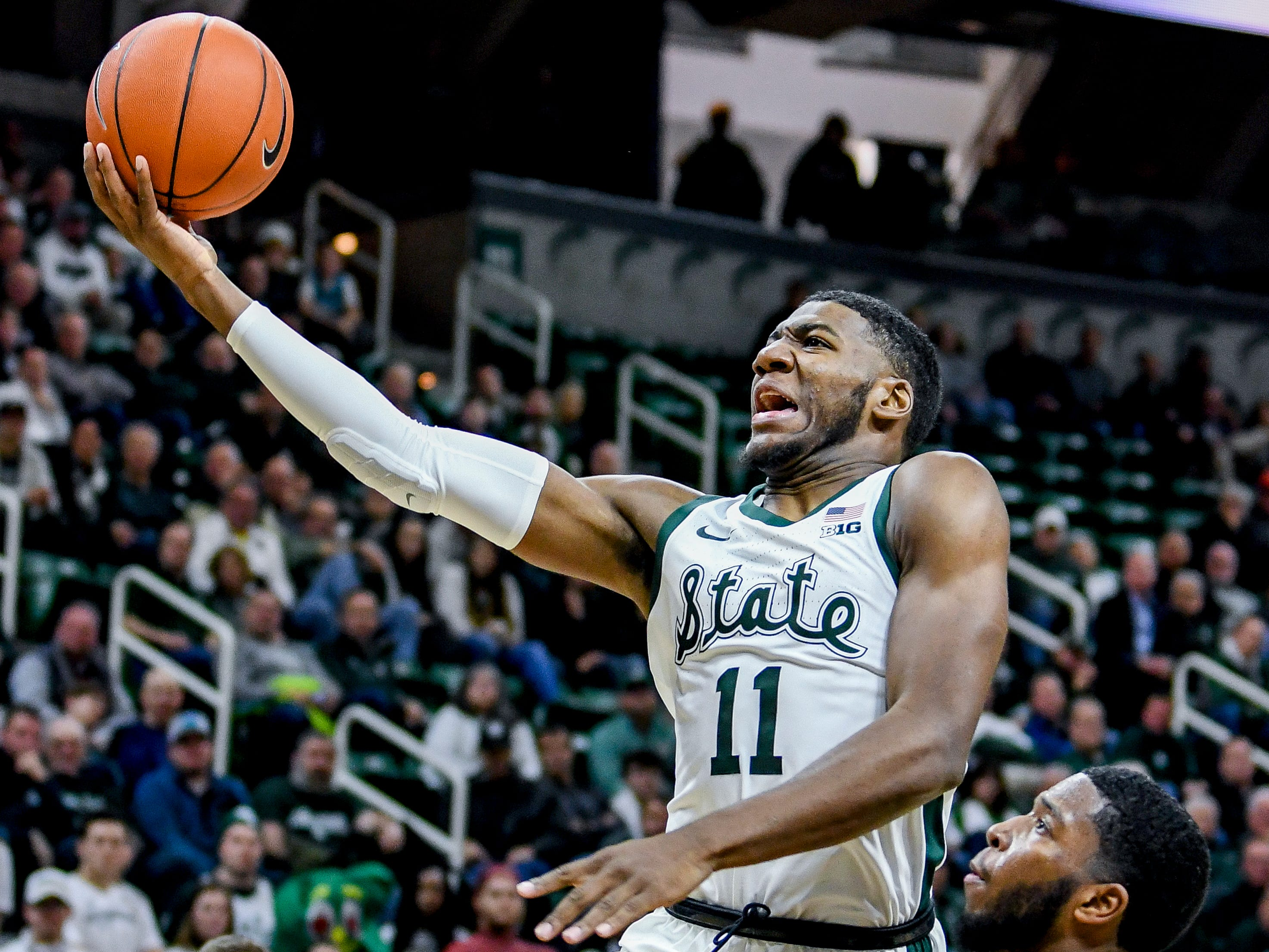 Michigan State's Aaron Henry shoots during the second half on Monday, Dec. 3, 2018, at the Breslin Center in East Lansing. Michigan State beat Iowa 90-68.