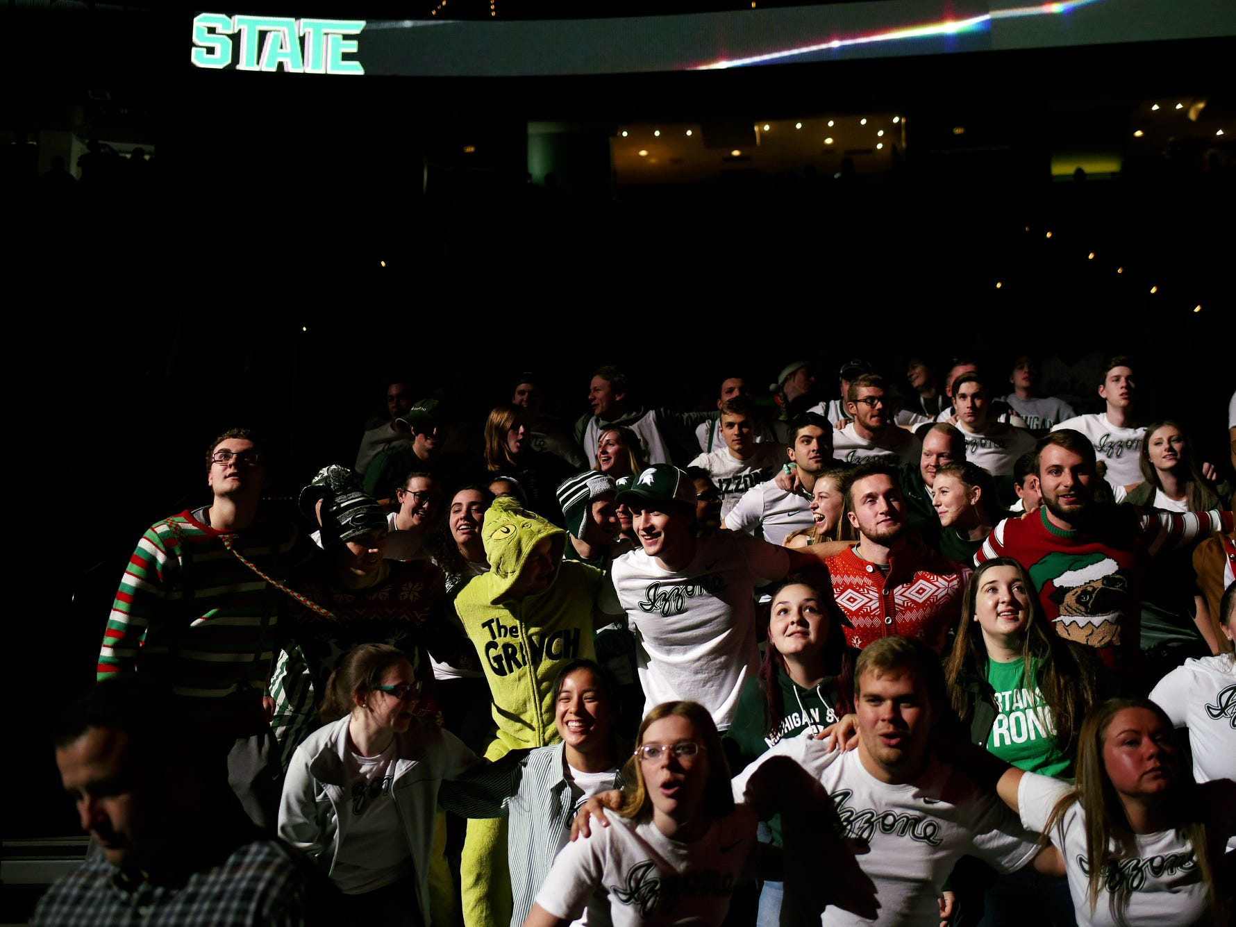 Michigan State fans cheer during player introductions before the Spartans game against Iowa on Monday, Dec. 3, 2018, at the Breslin Center in East Lansing. Michigan State beat Iowa 90-68.