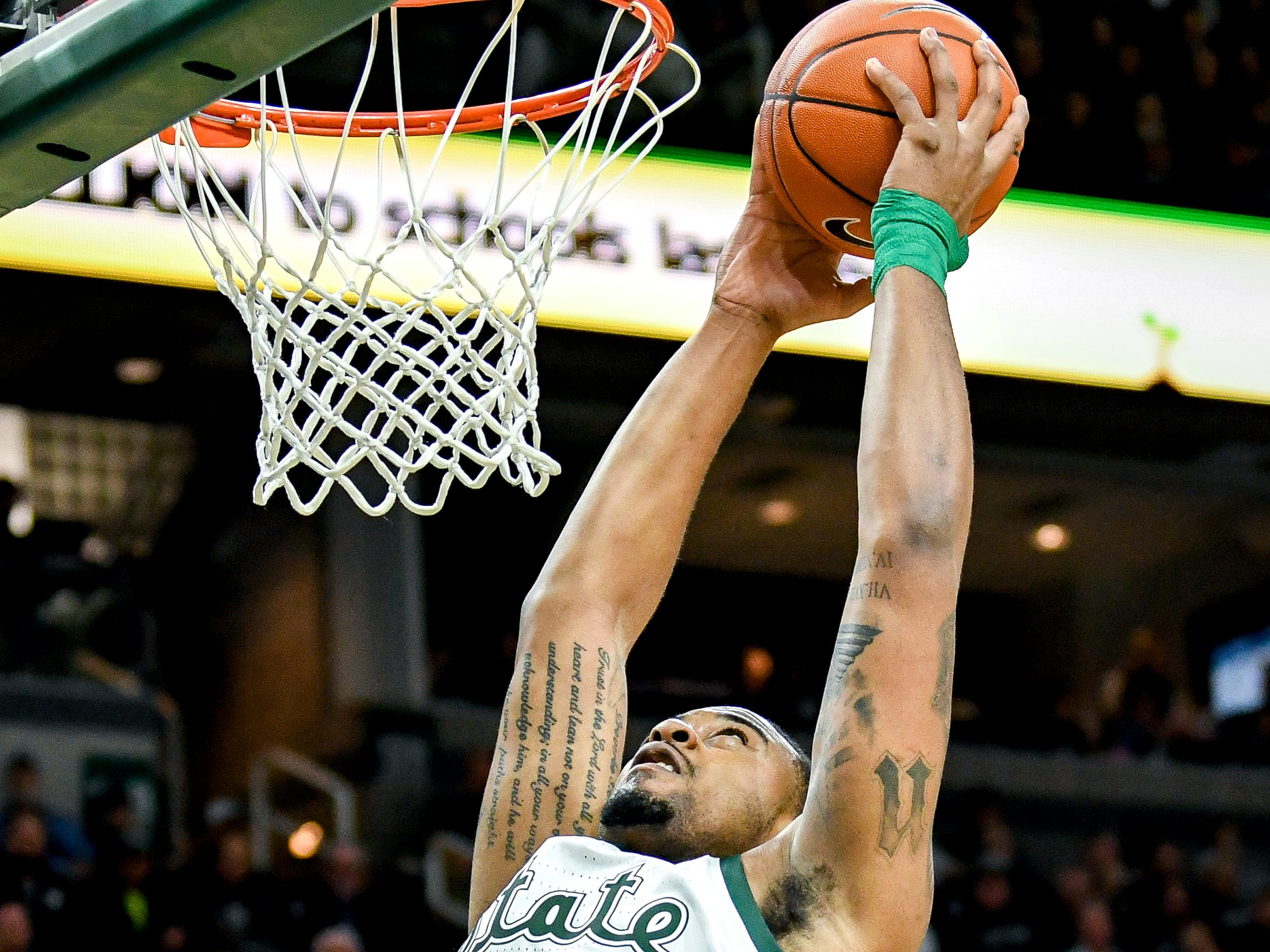 Michigan State's Nick Ward dunks during the first half on Monday, Dec. 3, 2018, at the Breslin Center in East Lansing.
