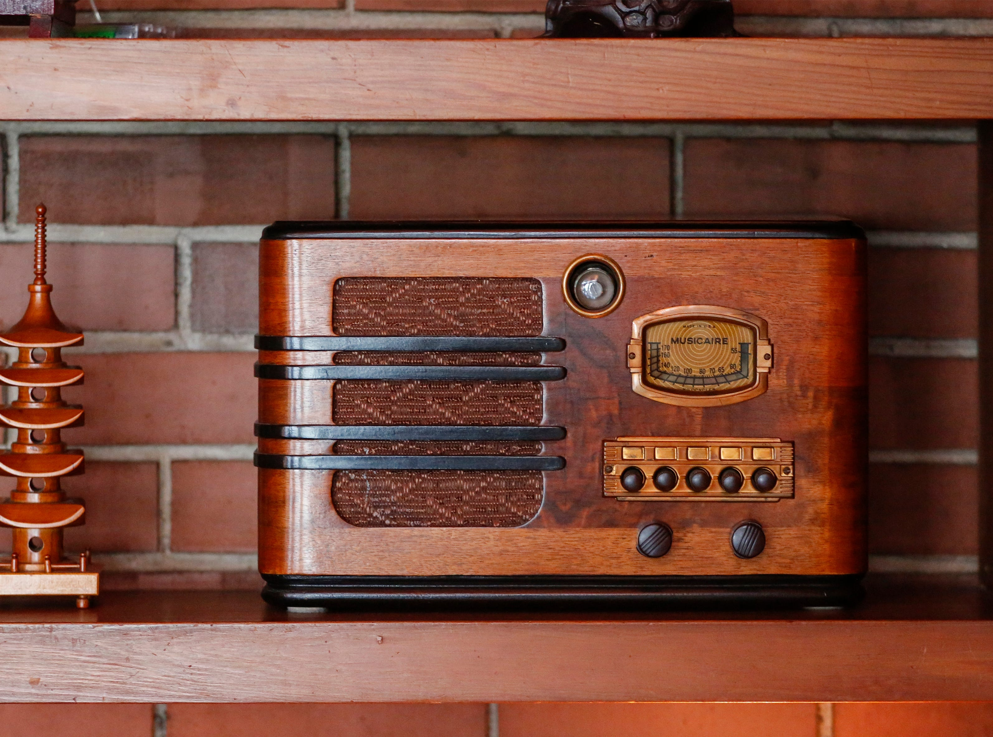 An old radio on a shelf at Still Bend on Nov. 29, 2018, in Two Rivers, Wis.