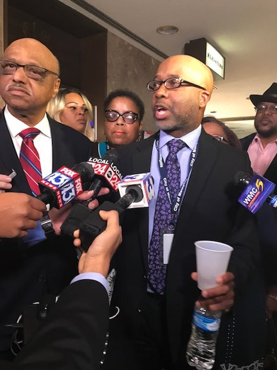 Memphis City Councilman Martavius Jones speaks to reporters after he and council members Joe Brown, Jamita Swearengen and Patrice Robinson walked out of a City Council meeting on Dec. 4, 2018, over the District 1 City Council seat appointment.