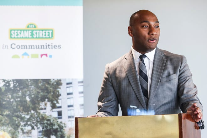December 04 2018 - Shelby County Mayor Lee Harris speaks during a press conference announcing Sesame Street in Communities partnership initiative to support early childhood development in Memphis and Shelby County at Porter-Leath Early Childhood Academy on Tuesday.