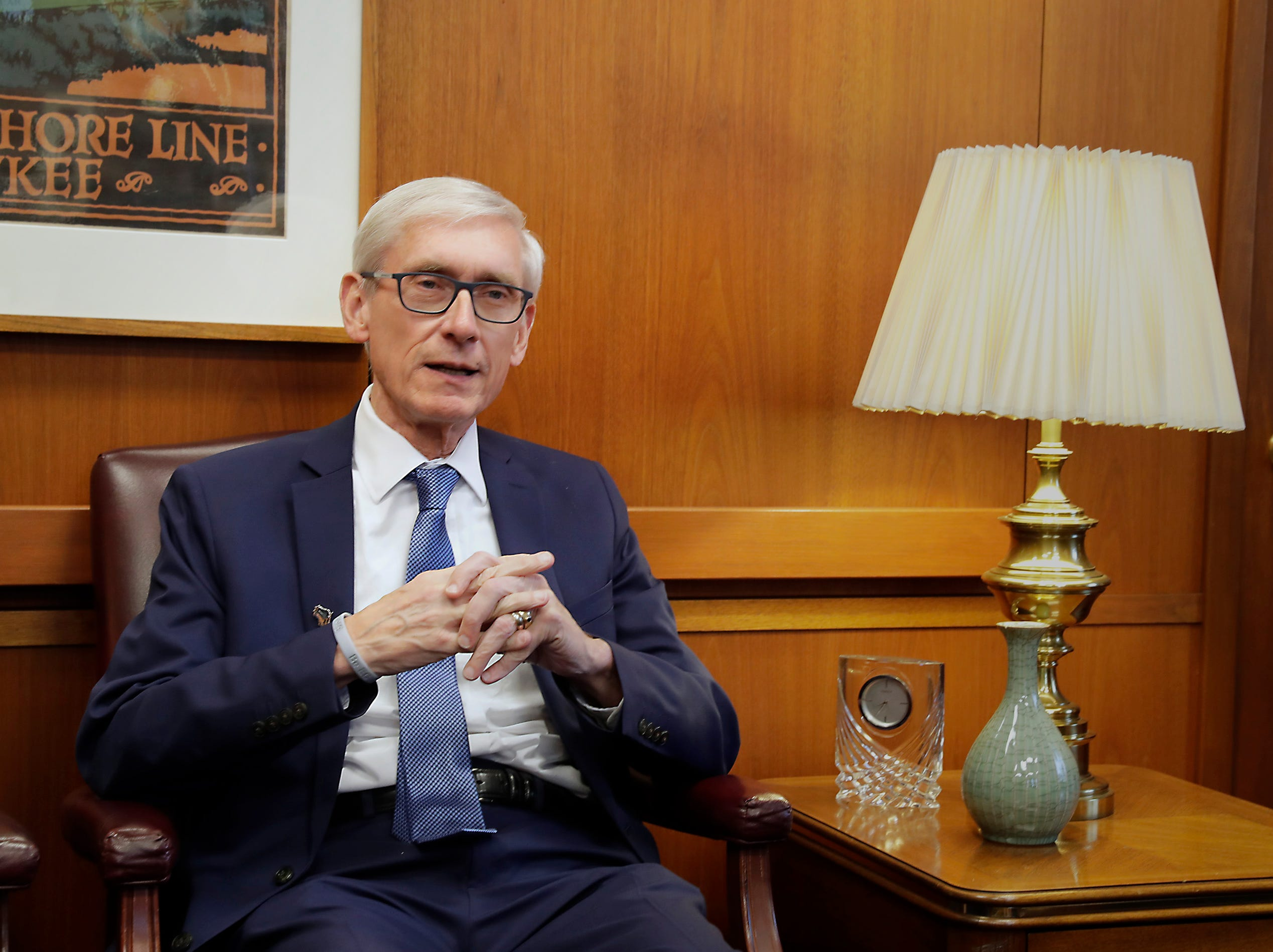 Gov.-elect Tony Evers offers support to Milwaukee as he speaks with Mayor Tom Barrett at City Hall Tuesday.  Evers said he wants to continue working  with Barrett and the Common Council to benefit Milwaukee.