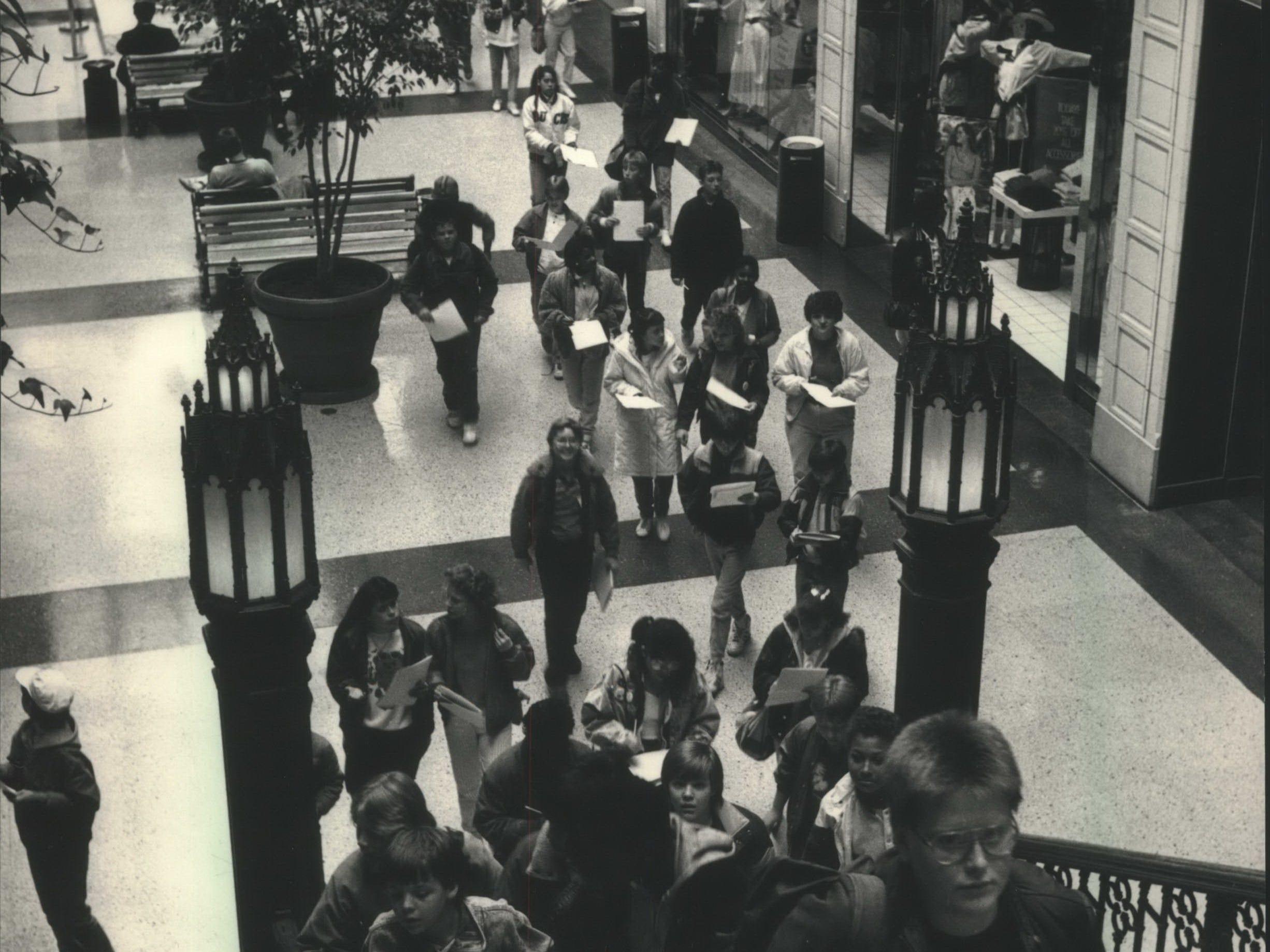 Milwaukee - Audubon Middle School students begin their Downtown tour in The Grand Avenue's Plankinton Arcade