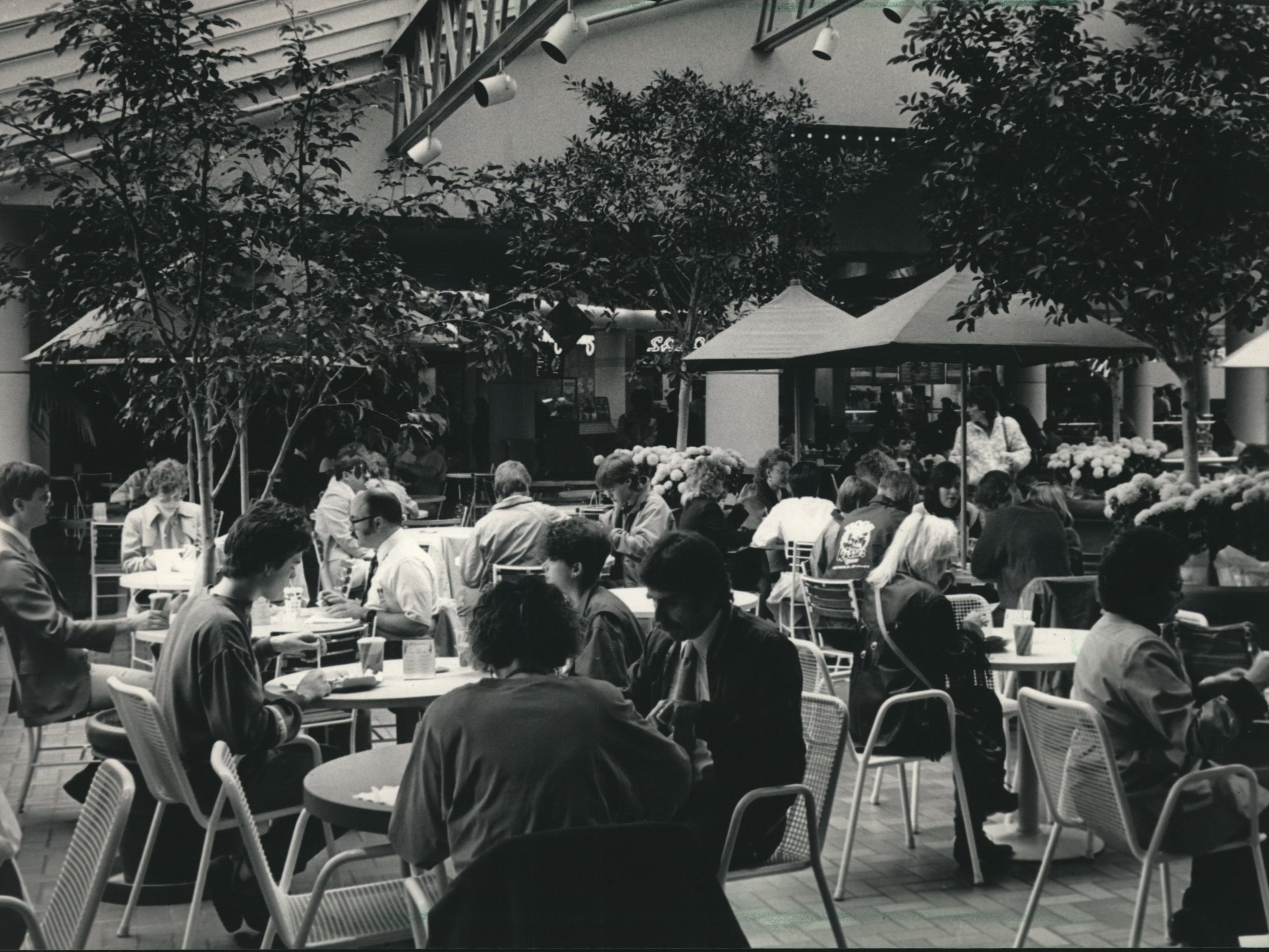 The lunchtime crowd usually fills all available tables at the Speisegarten at the Grand Avenue Mall in Milwaukee