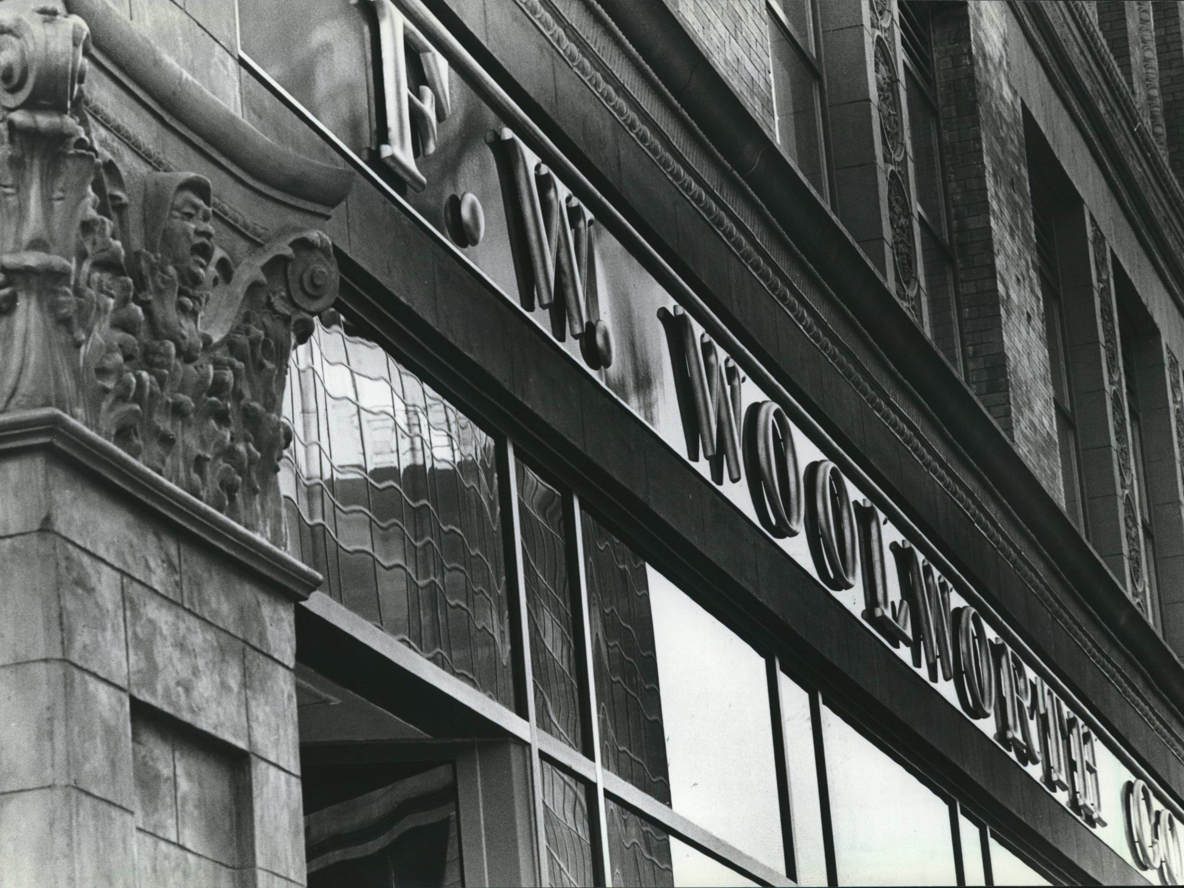 The F.W. Wollworth Company building sports a reproduction of the store's traditional sign, new metal window frames and refurbished ornaments. (Grand Avenue Mall)
