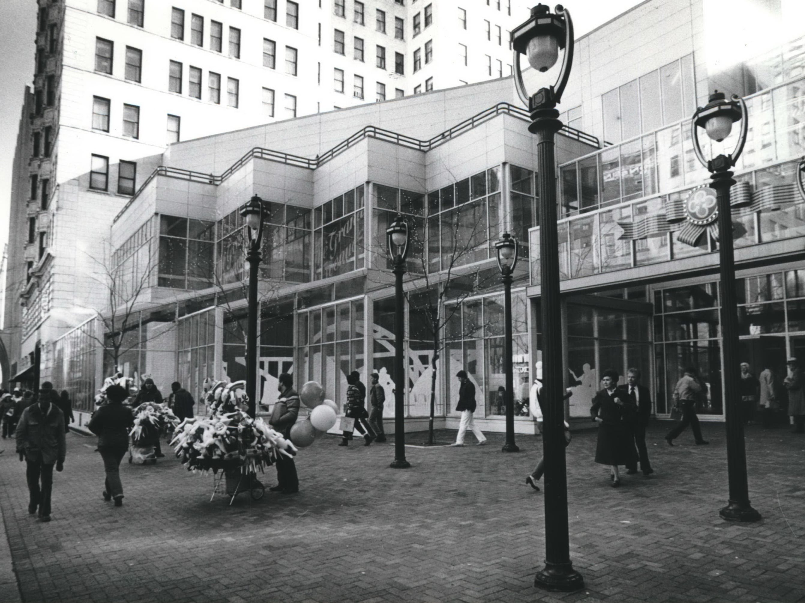 tax incremental financing was important in the creation of the Grand Avenue retail center in Milwaukee. The center was key to revitalization of the city's Downtown. this picture shows the entrance to the new arcade at North 3rd Street. and West Wisconsin Avenue.