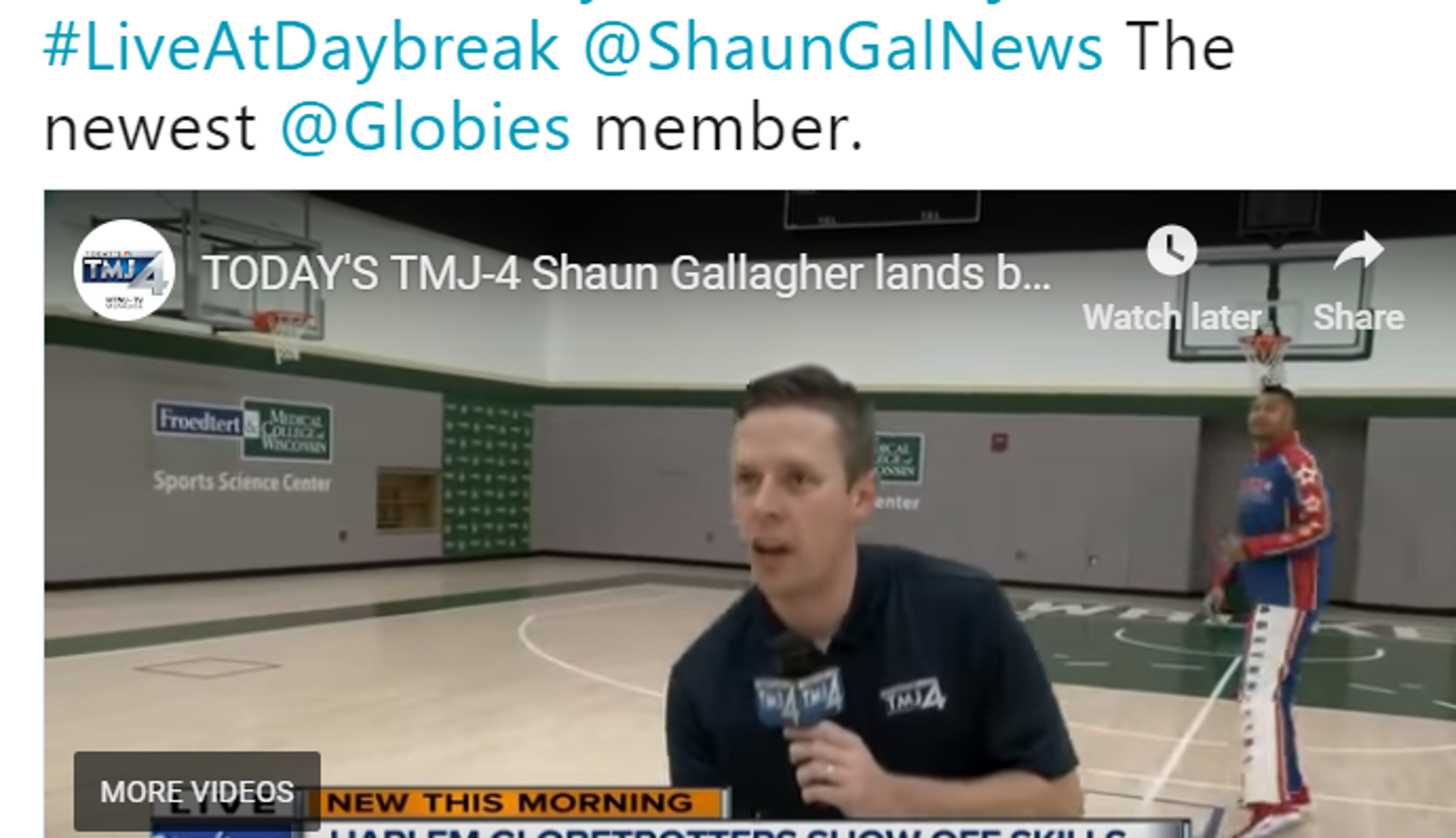 Milwaukee reporter executes trick shot with Globetrotter on live shoot