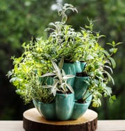 More than a dozen pockets add interest to this gardening pot.
