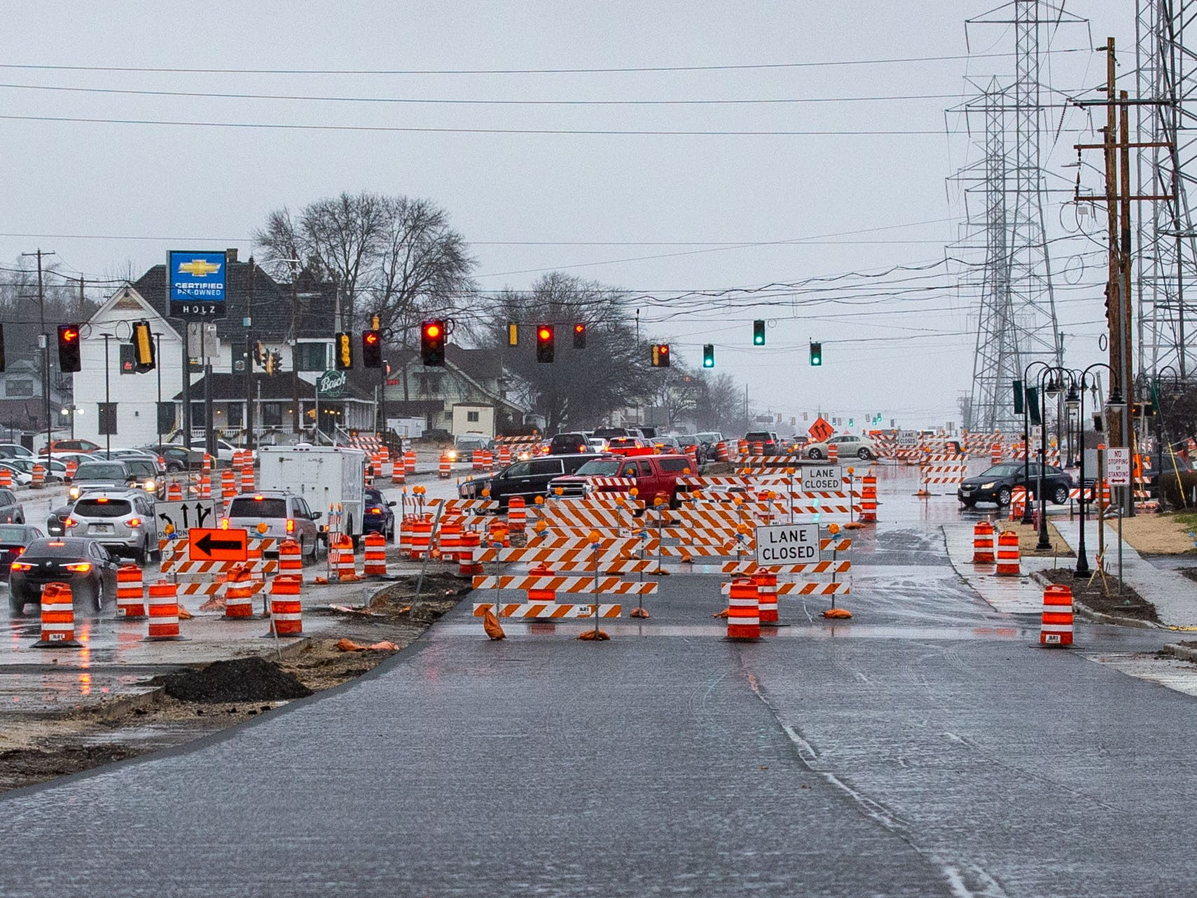Northbound lanes remain closed on South 108th St. in Hales Corners on Sunday, Dec. 2, 2018. Construction issues have delayed the project.